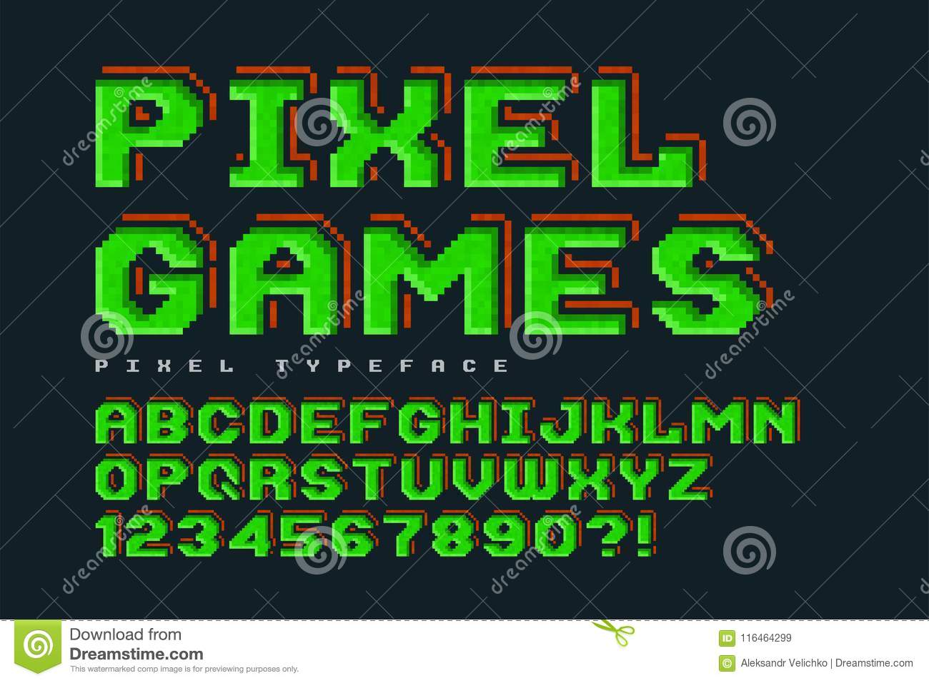 Pixel Vector Font Design, Stylized Like In 8-bit Games  Stock Vector