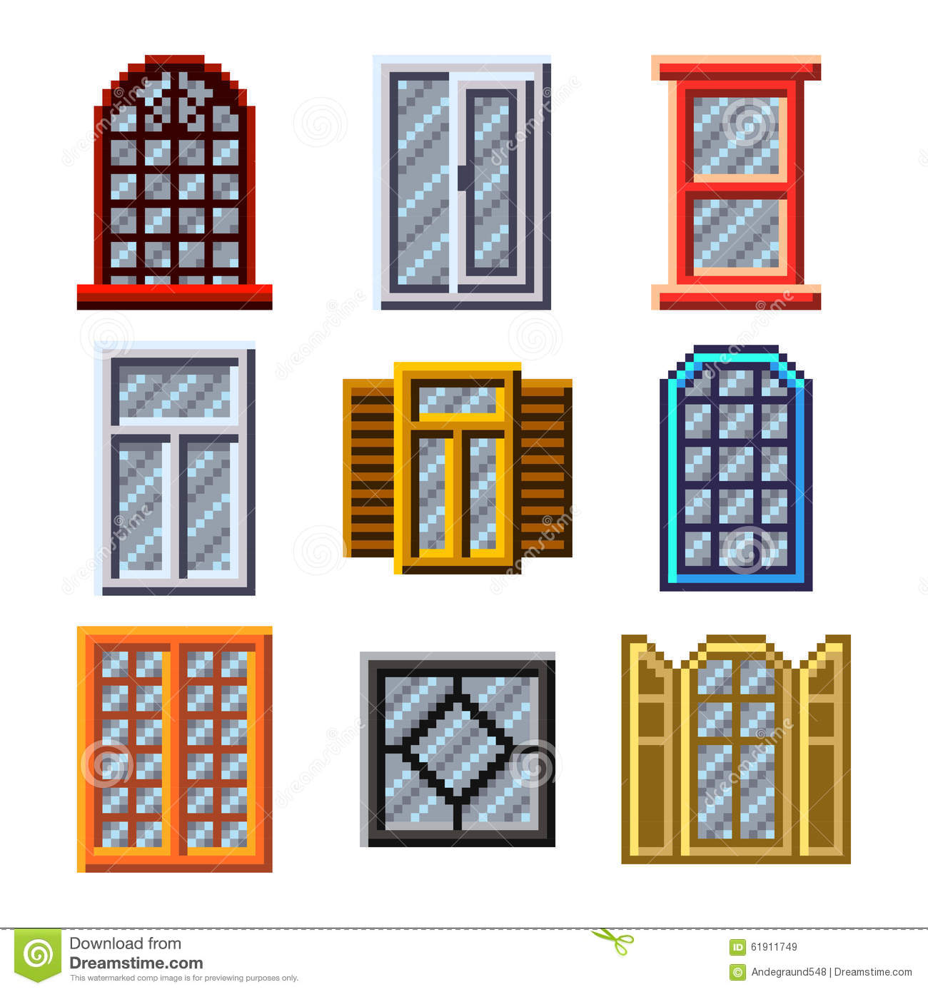 pixel windows for games icons vector set stock vector