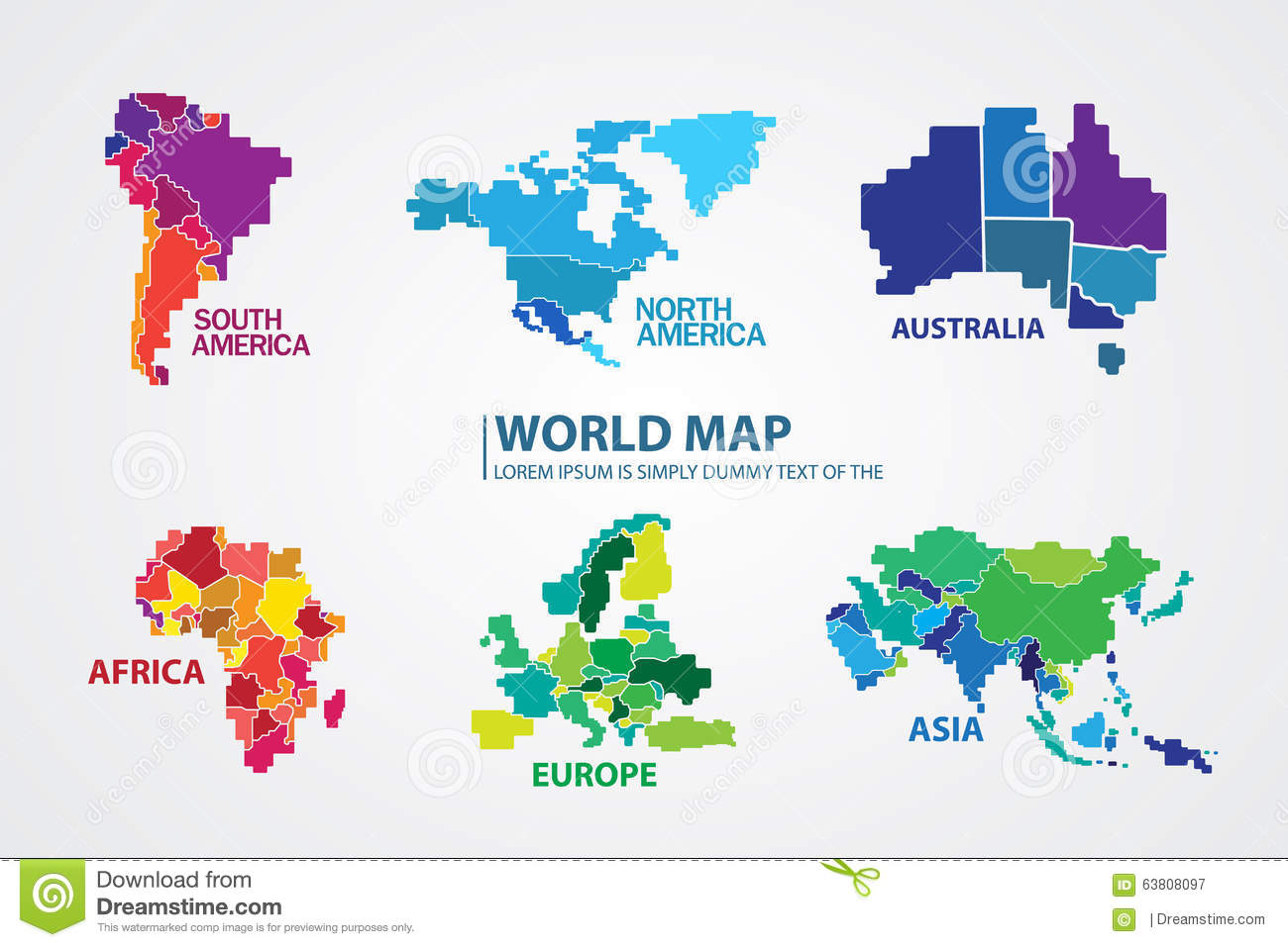 Pixel World Map Design Vector Stock Illustration Image
