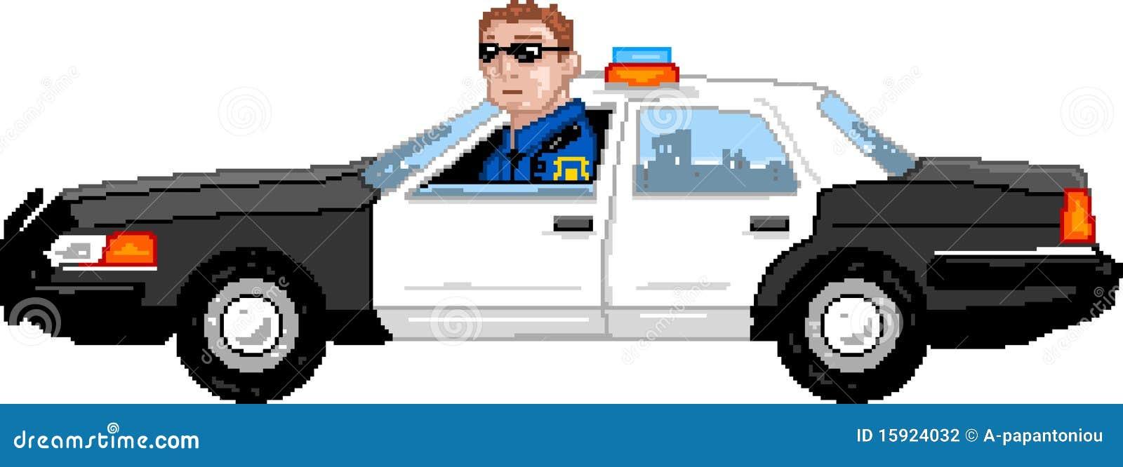 Pixelart Véhicule De Police Illustration De Vecteur