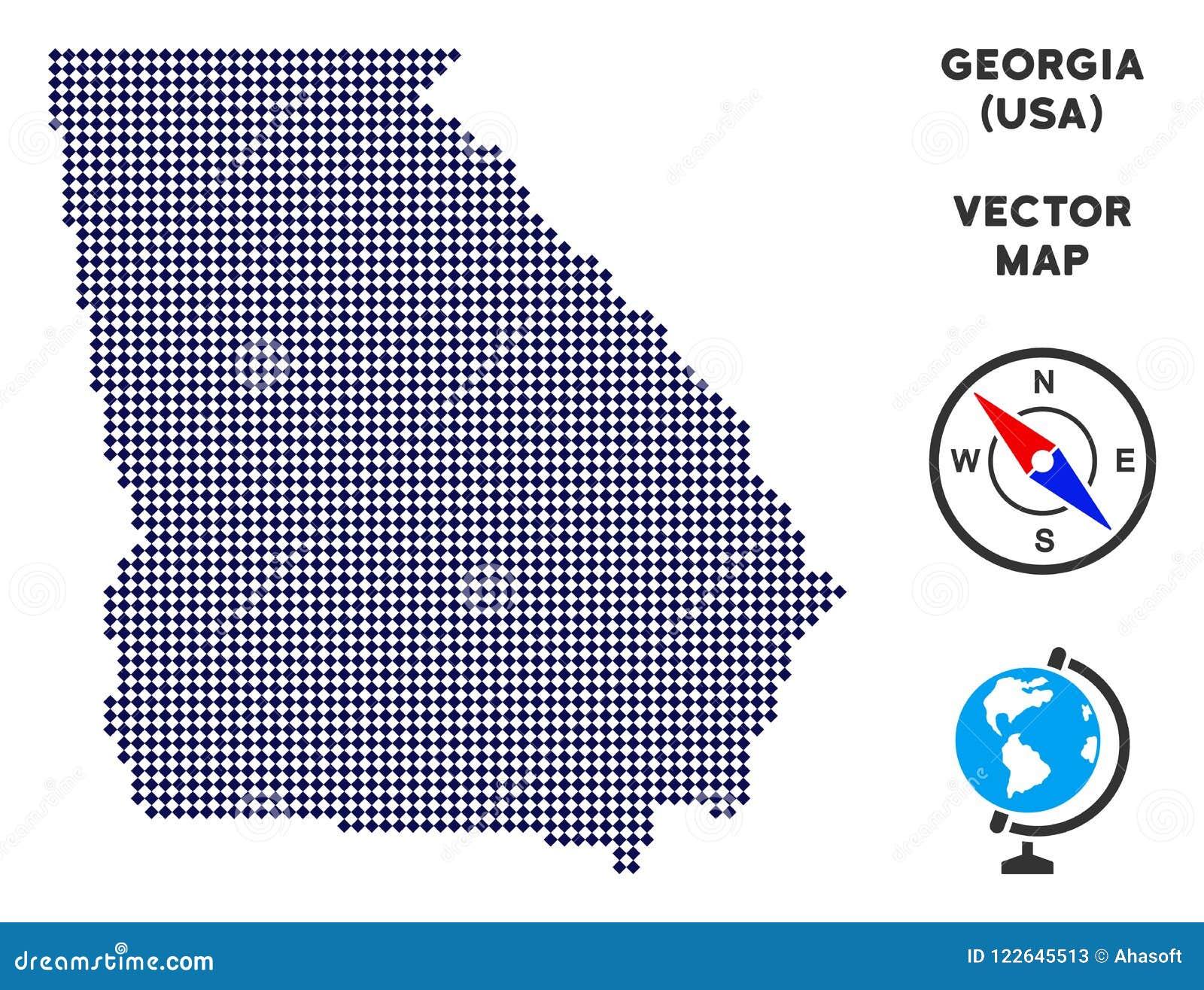 Map Of America Georgia.Pixelated American State Georgia Map Stock Vector Illustration Of