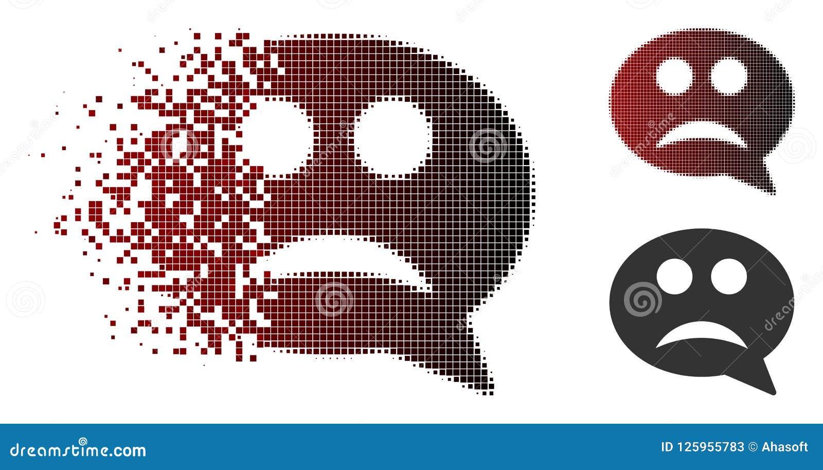Pixelated De Desintegración Smiley Message Icon Triste De