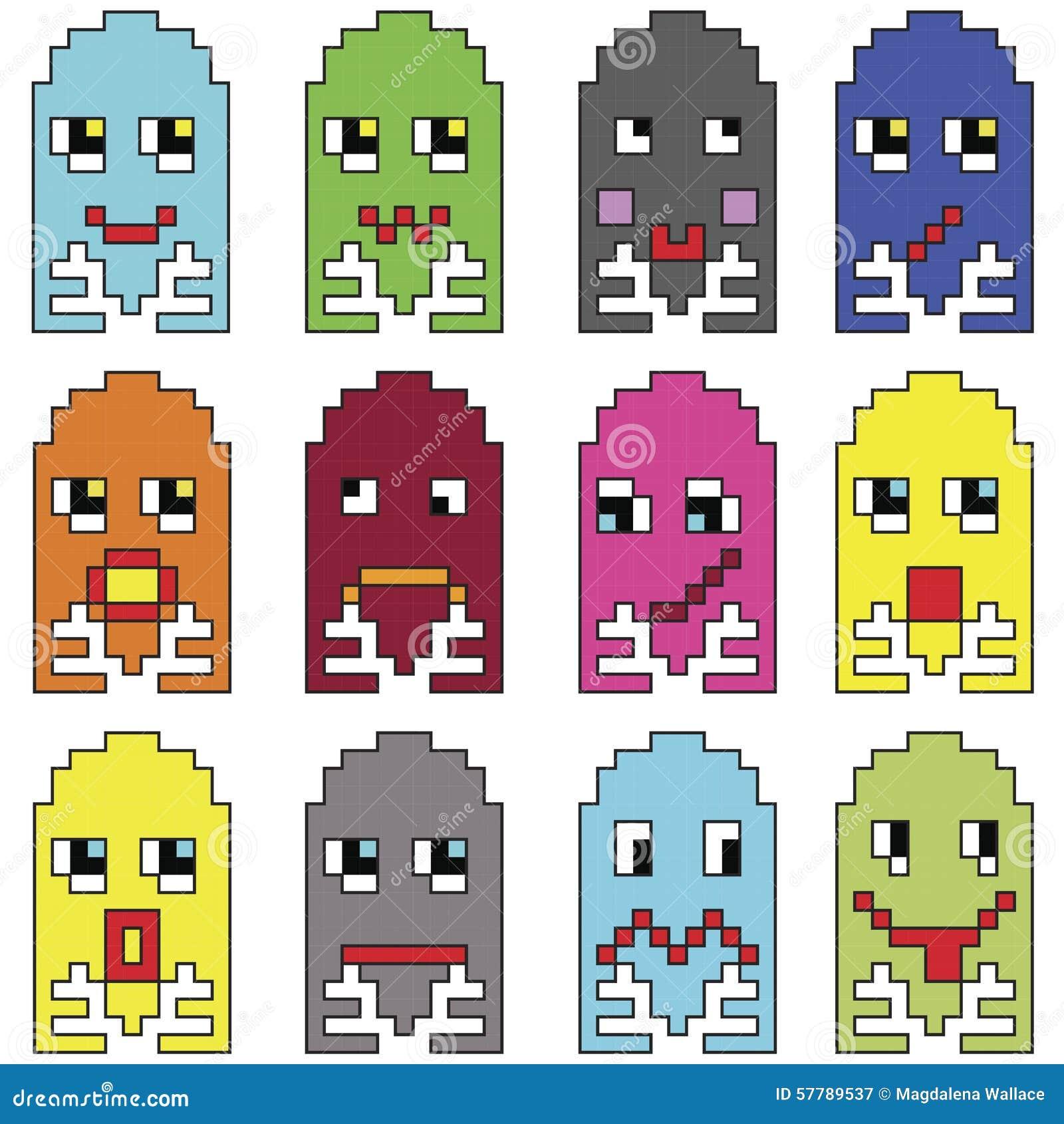 Pixelated emoticons 2 geïnspireerd door de spelen te tonen van de jaren  90 uitstekende videocomputer varieert emoties met slag
