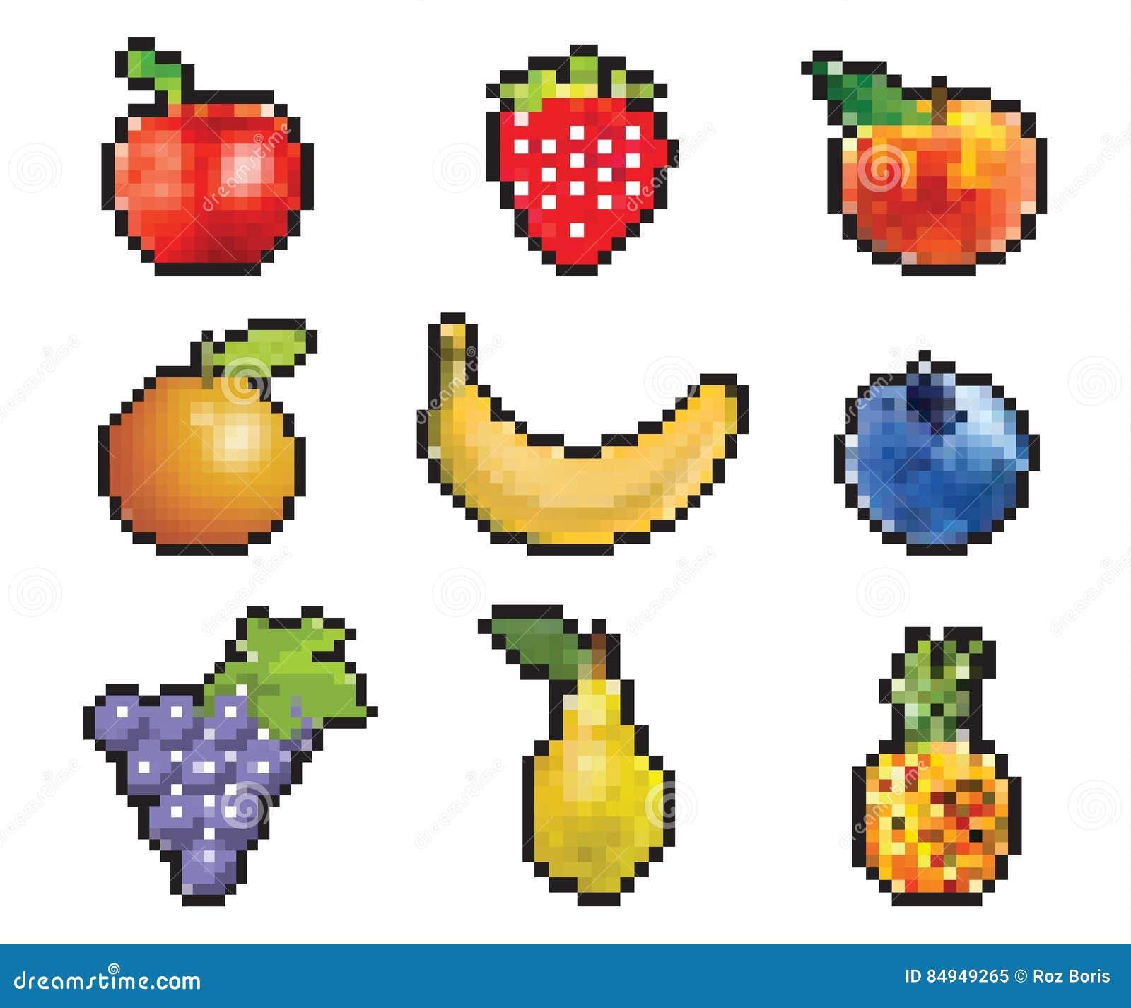 Pixelated Fruit Stock Vector. Illustration Of Health