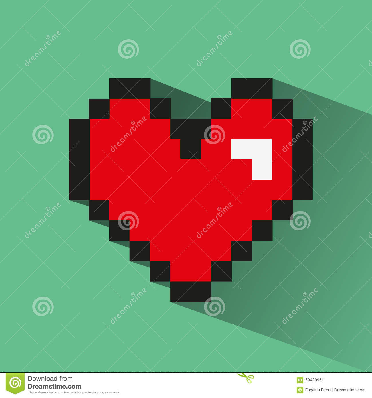 Pixelated Heart On Green Backdrop. Stock Vector