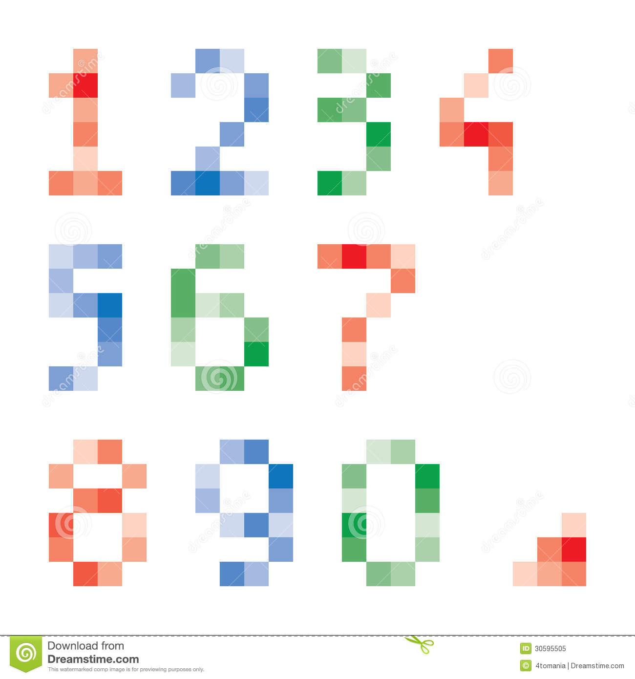 Pixelated Numbers Stock Vector. Illustration Of Graphic