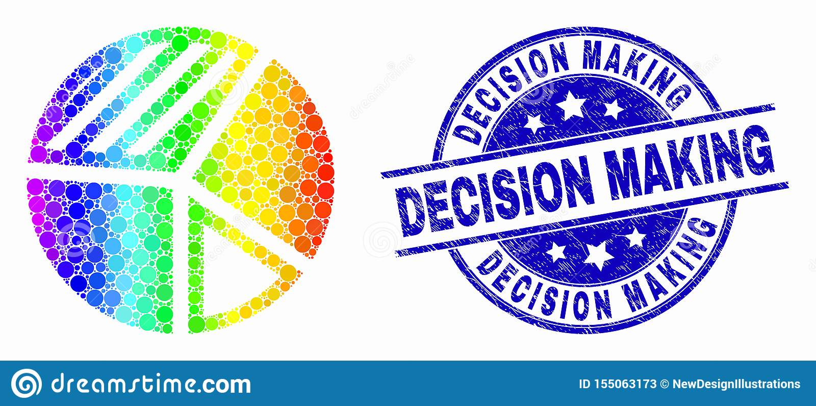 Vector Spectrum Dot Pie Chart Icon and Scratched Decision Making Seal