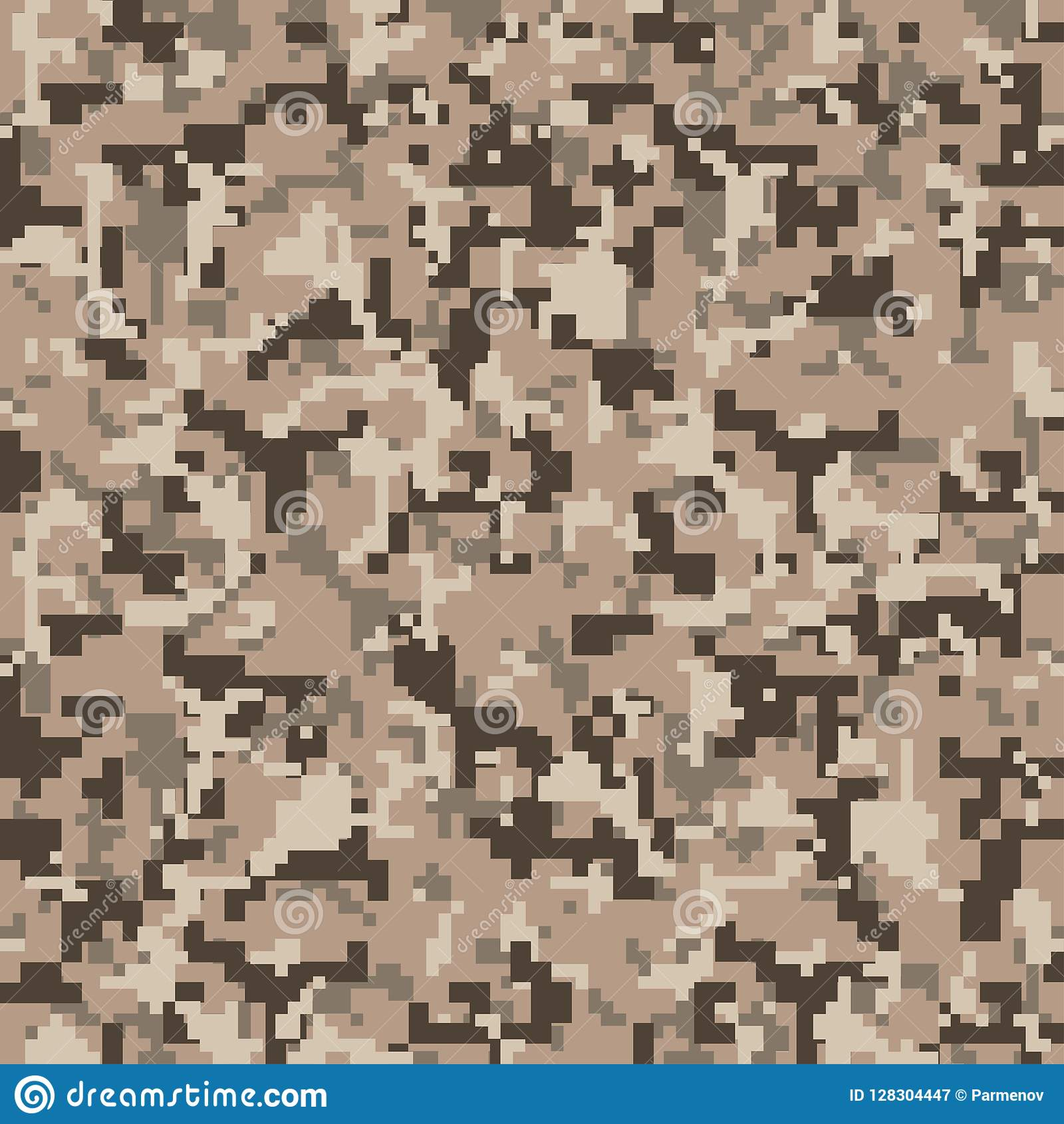 Pixelcamo Naadloos Digitaal Camouflagepatroon Militaire textuur Bruine woestijnkleur