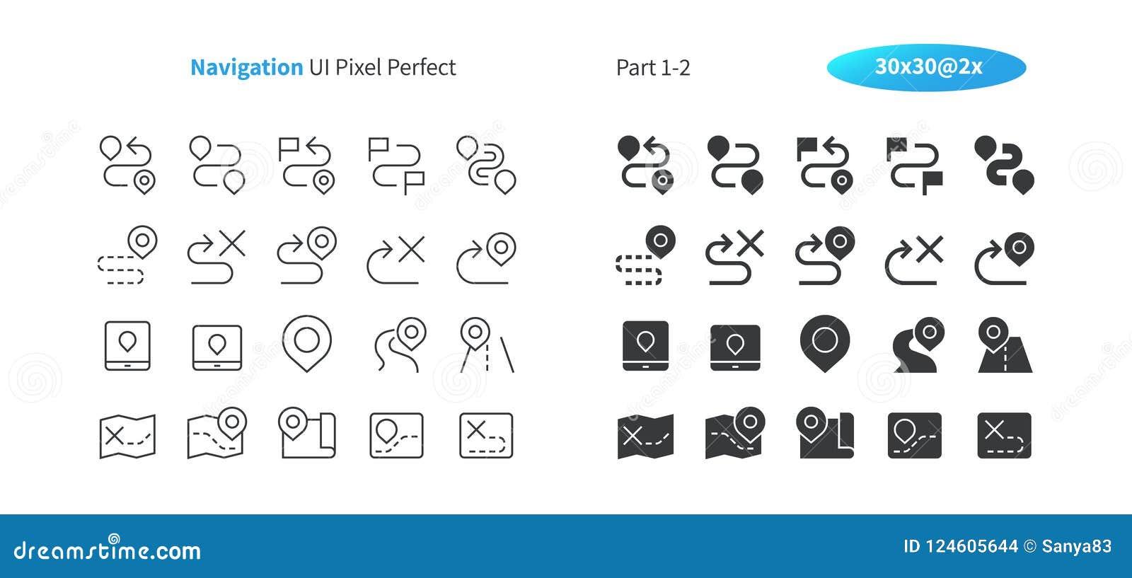 PIXELet Perfect för navigering UI Brunn-tillverkade den tunna linjen för vektorn och det fasta rastret 2x för symboler 30 för ren