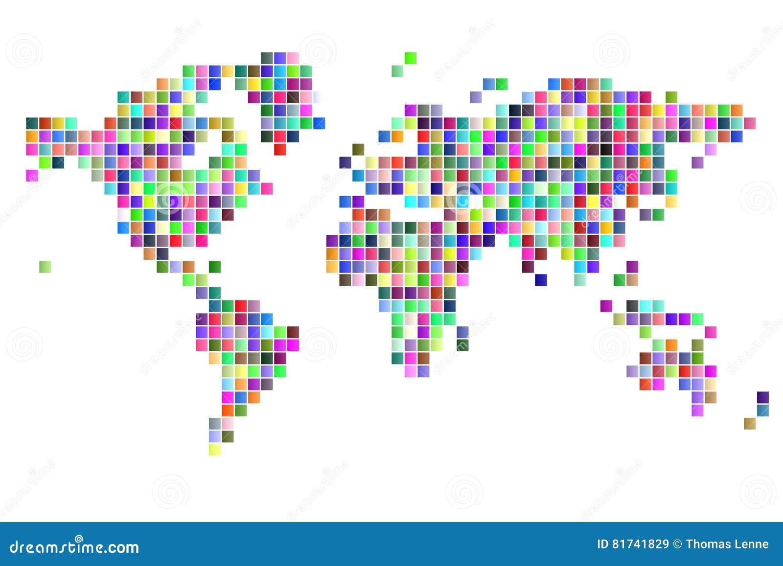 Pixels De Place De Carte Du Monde Illustration Stock