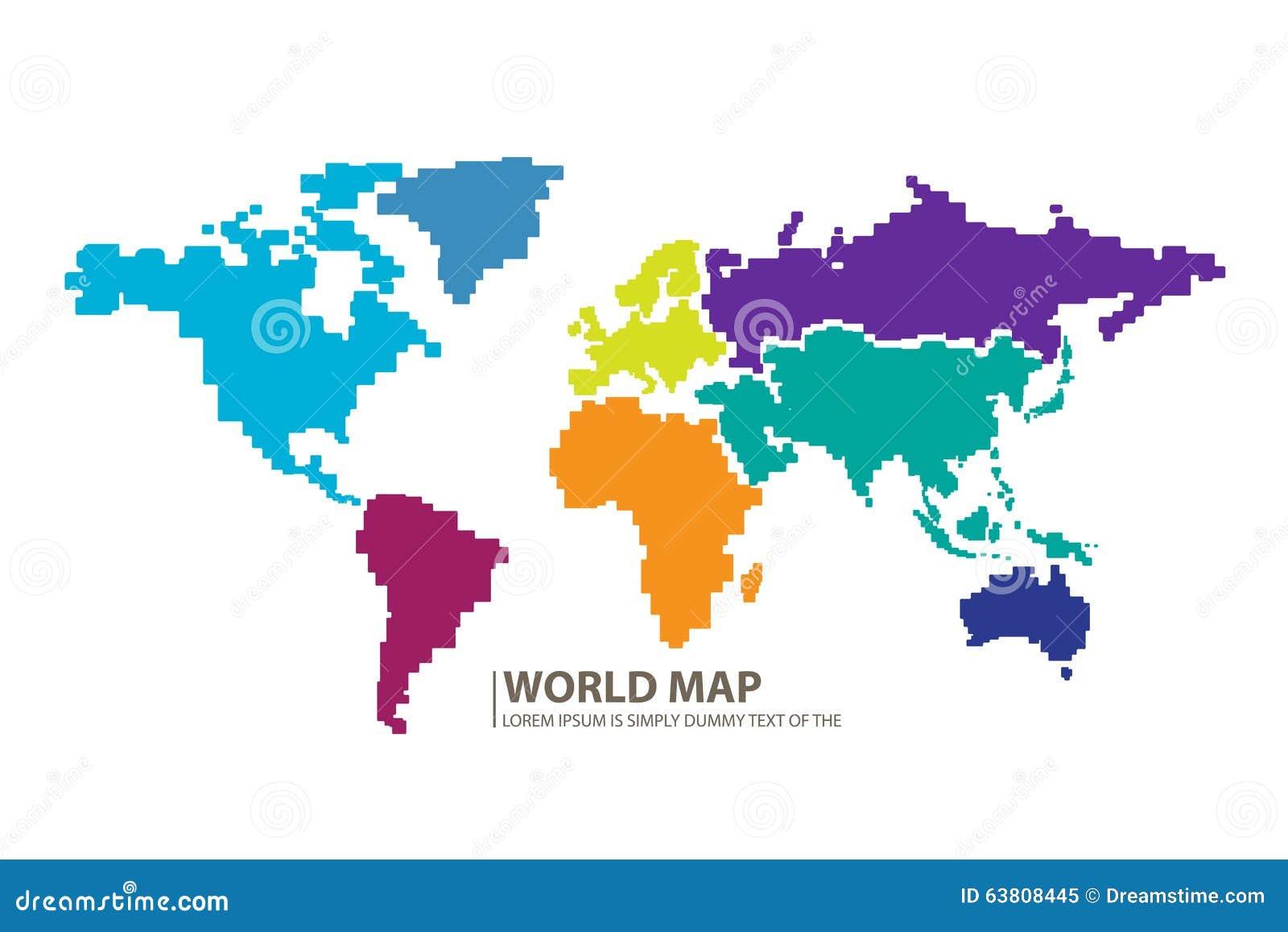 Pixels World Map Design Vector Stock Illustration Image 63808445