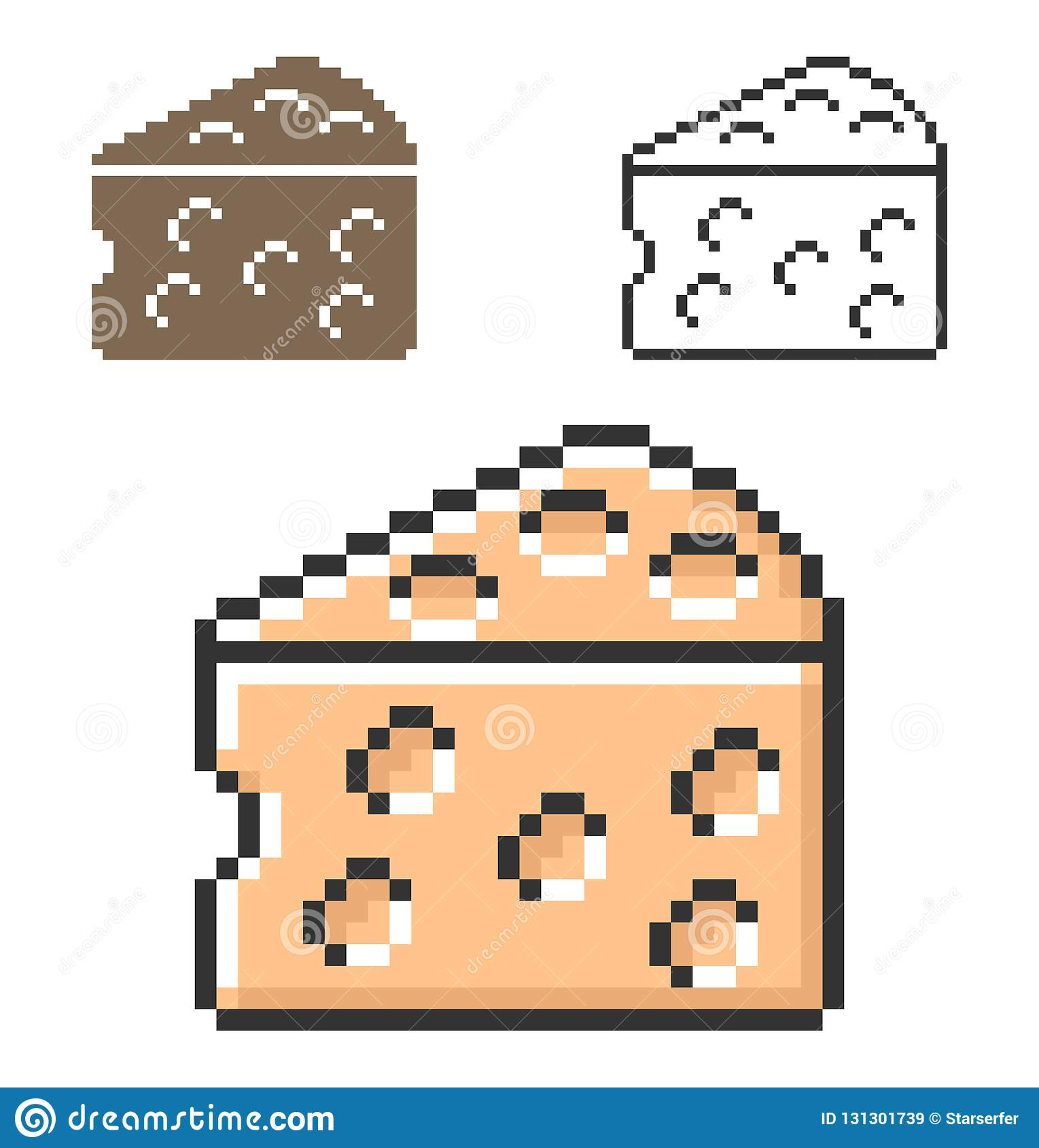 PIXELsymbol av oststycket i tre varianter