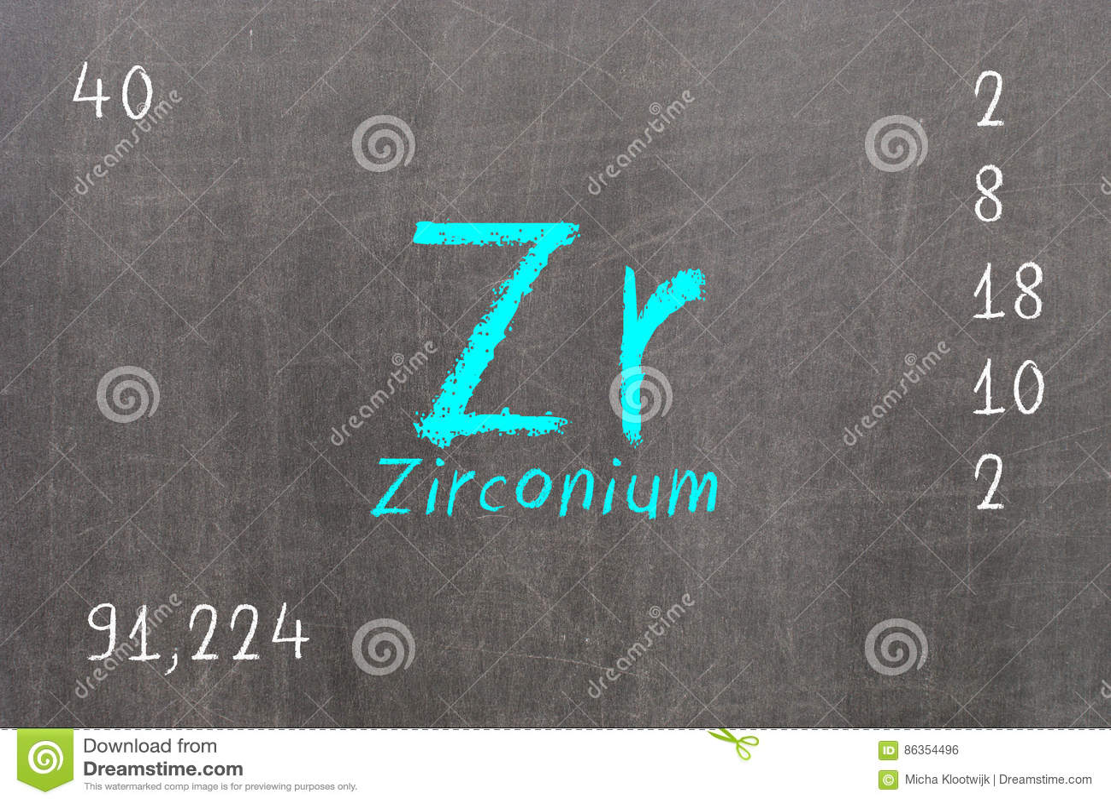 Pizarra aislada con la tabla peridica circonio stock de pizarra aislada con la tabla peridica circonio urtaz Choice Image