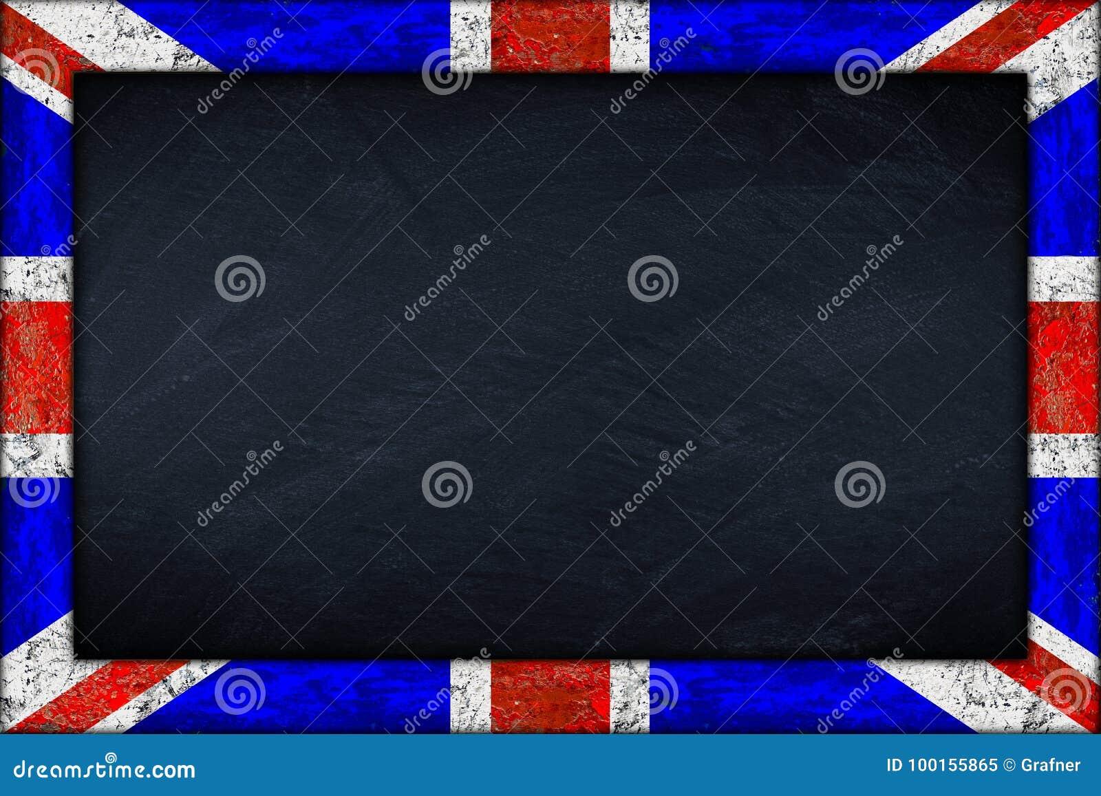 Pizarra Con El Marco De La Bandera Del Union Jack Imagen de archivo ...