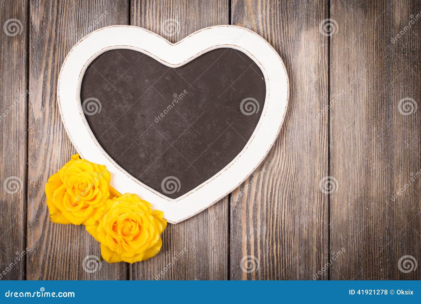 Pizarra de la forma del corazón
