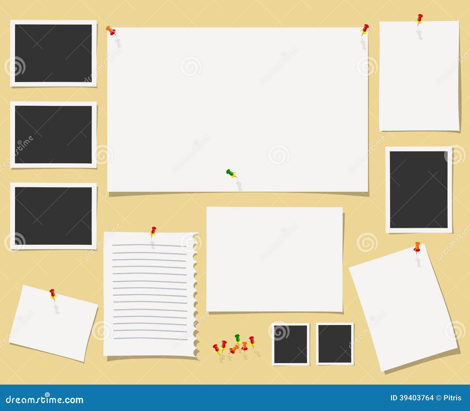 Pizarra del vector con los materiales de oficina for Pizarra oficina