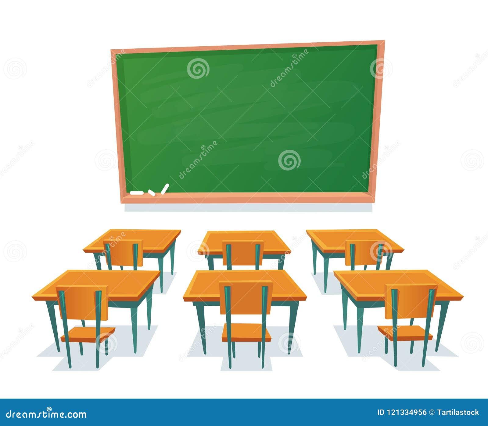 Pizarra y escritorios de la escuela La pizarra vacía, el escritorio de la sala de clase y la silla de madera aislaron el ejemplo