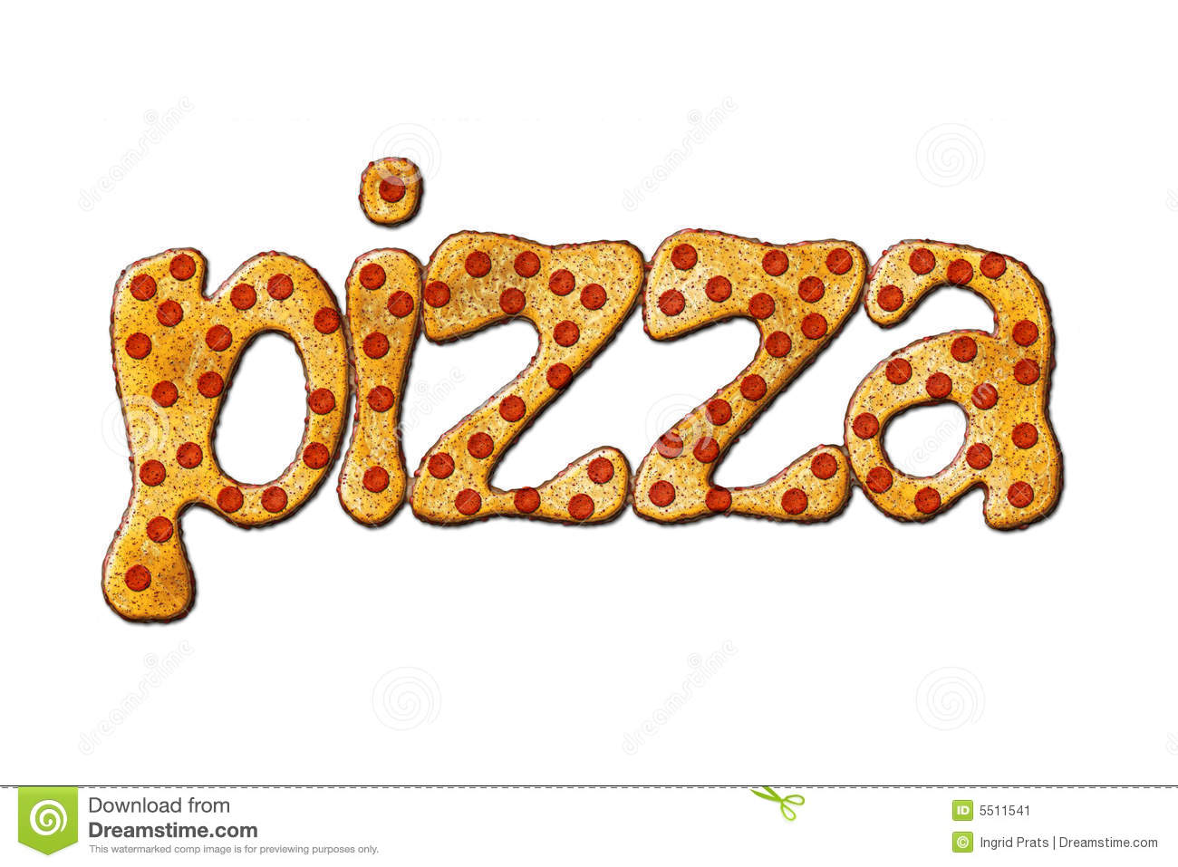 The word pizza, vectorial illustration.