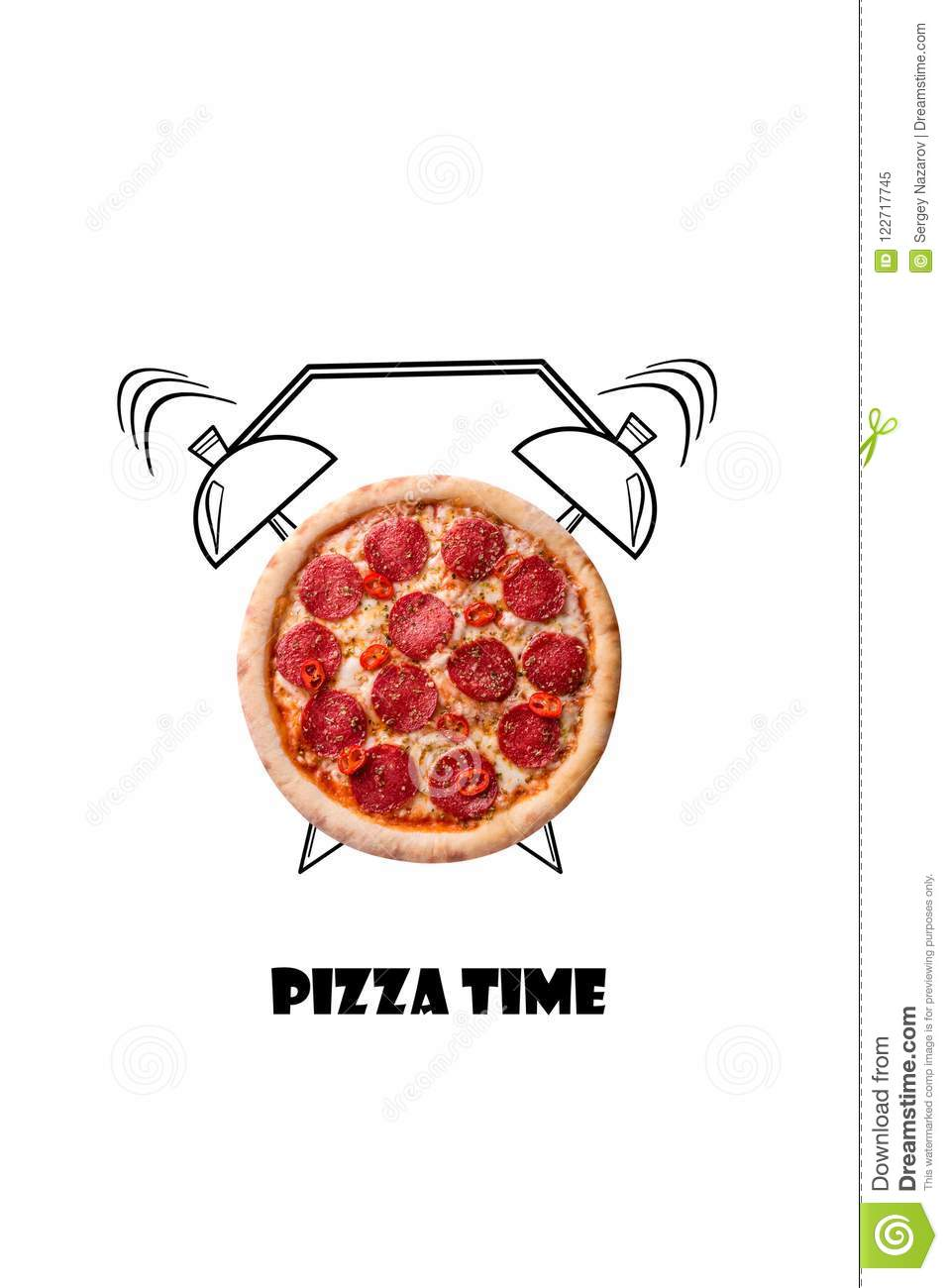 Pizza and alarm clock hand drawn illustration isolated on white background. The inscription Pizza time.