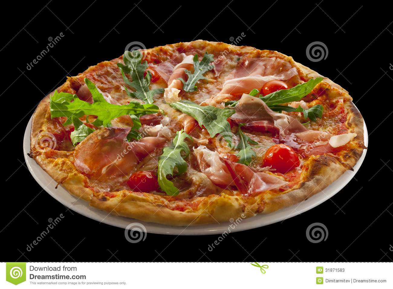Pizza with arugula, cherry tomatoes, prosciutto isolated on black ...