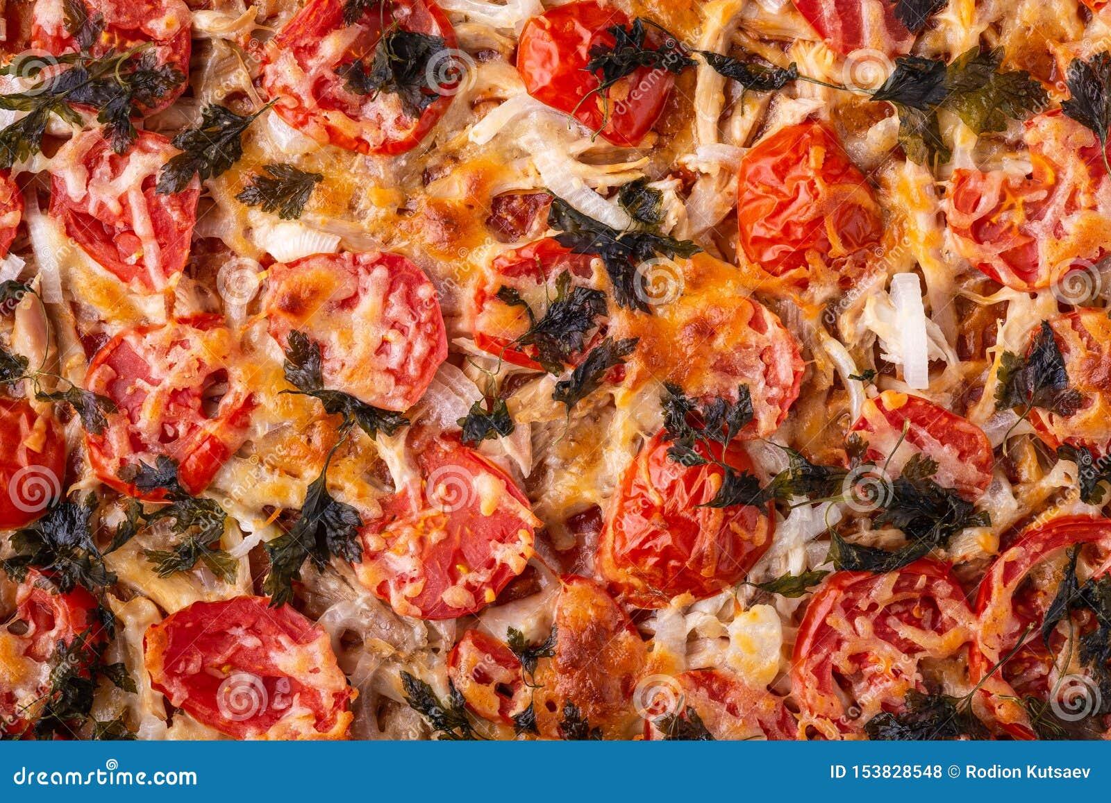 Pizza Avec La Vue Superieure De Texture Faite Maison De Recette De Persil De Tomate De Viande De Poulet De Mozzarella De Fromage Photo Stock Image Du Recette Pizza 153828548