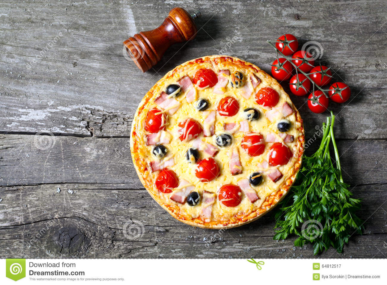Pizza With Bacon, Olives And Tomato Stock Photo - Image: 64812517