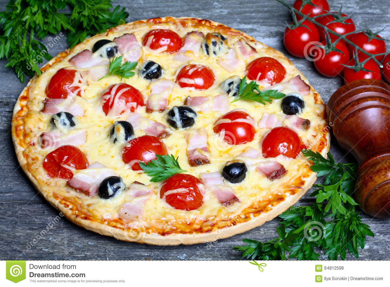 Pizza With Bacon, Olives And Tomato Stock Photo - Image: 64812598