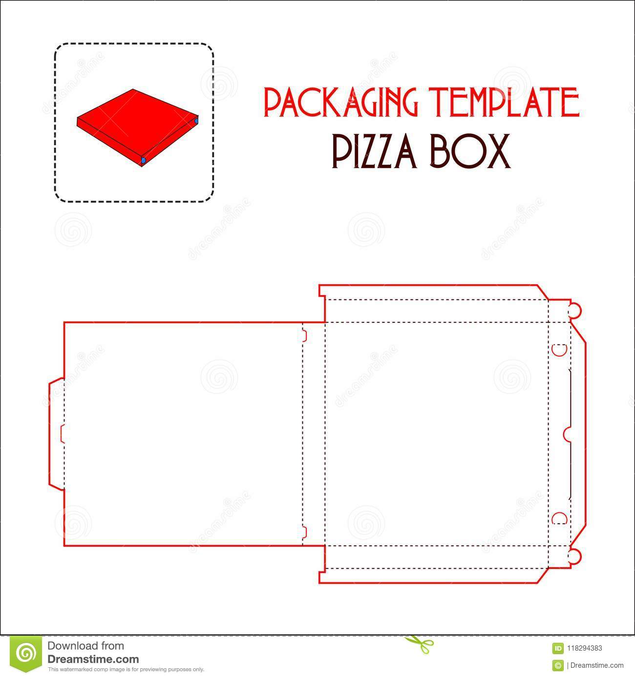 Pizza Box Packaging Template Stock Vector Illustration Of Clean