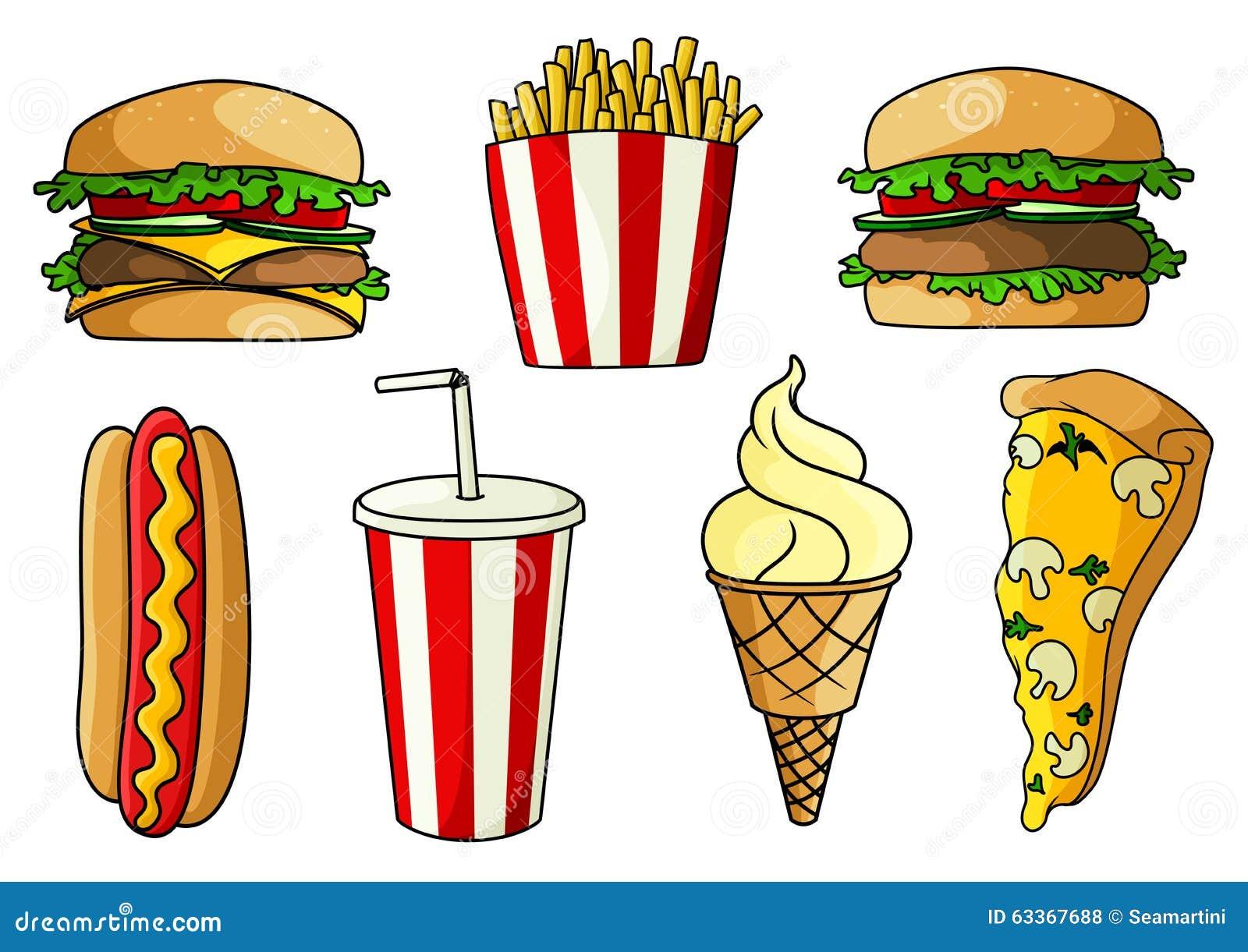Pizza Burger Hot Dog French Fries Ice Cream Stock