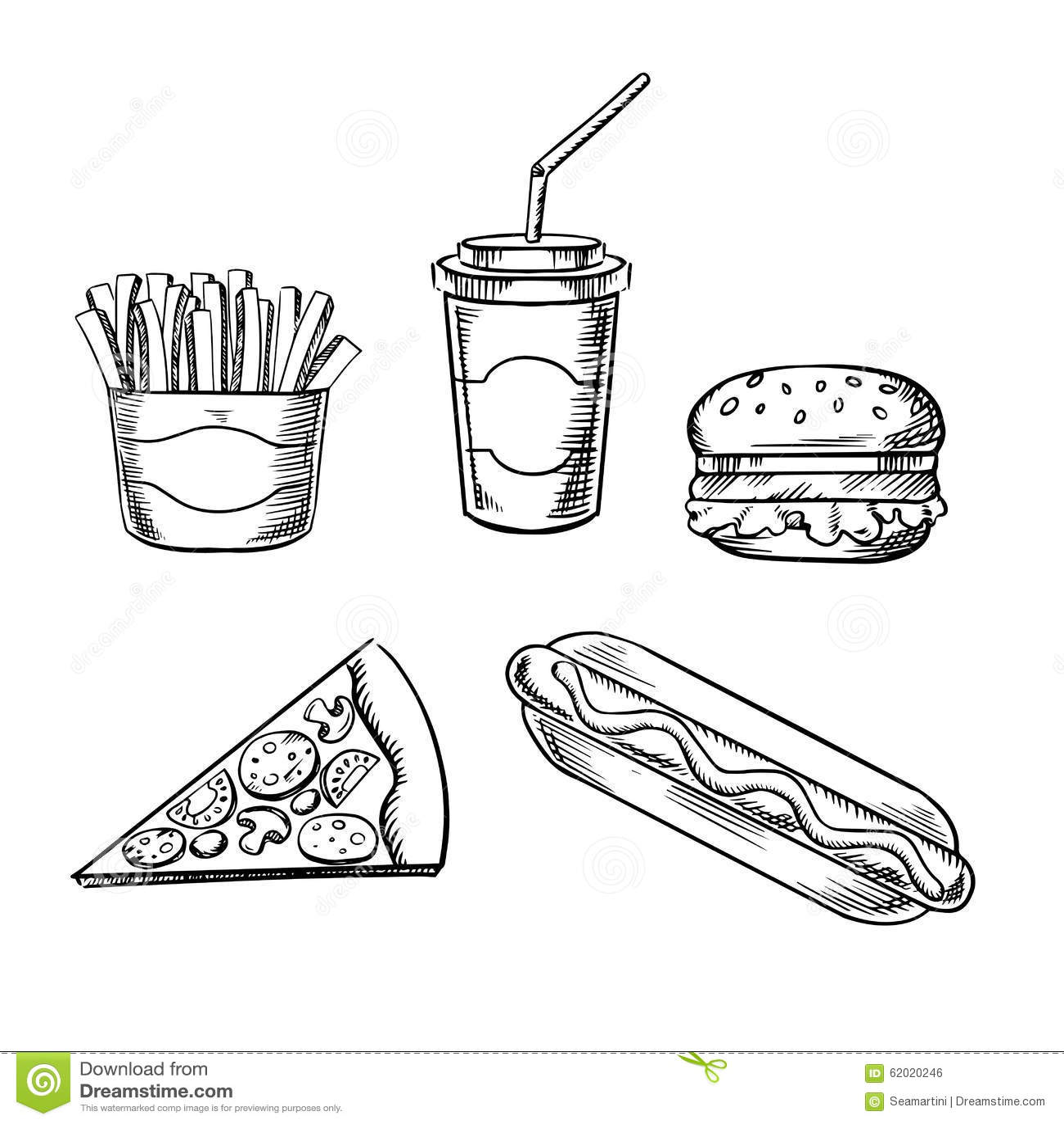 Pizza Burger Pommes Frites Hotdog Und Soda Vektor Abbildung