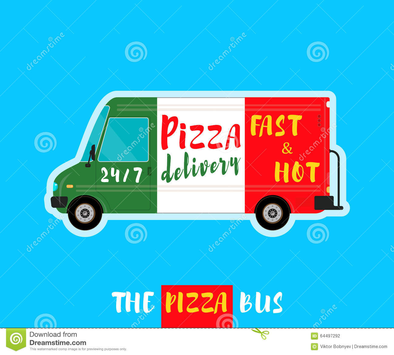Pizza bus delivery stock vector  Illustration of object