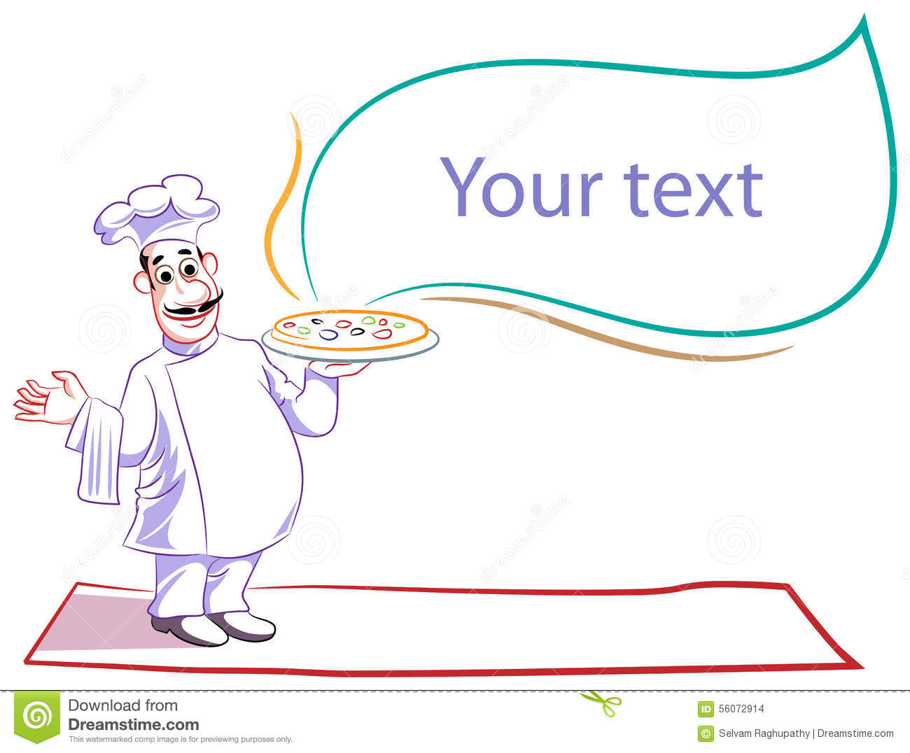 Line Art Text : Pizza chef stock vector image
