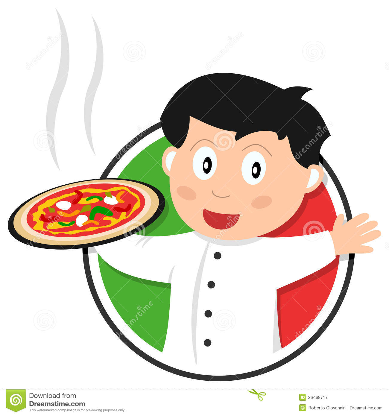 Pizza chef or cook or italian cuisine logo, isolated on white ...