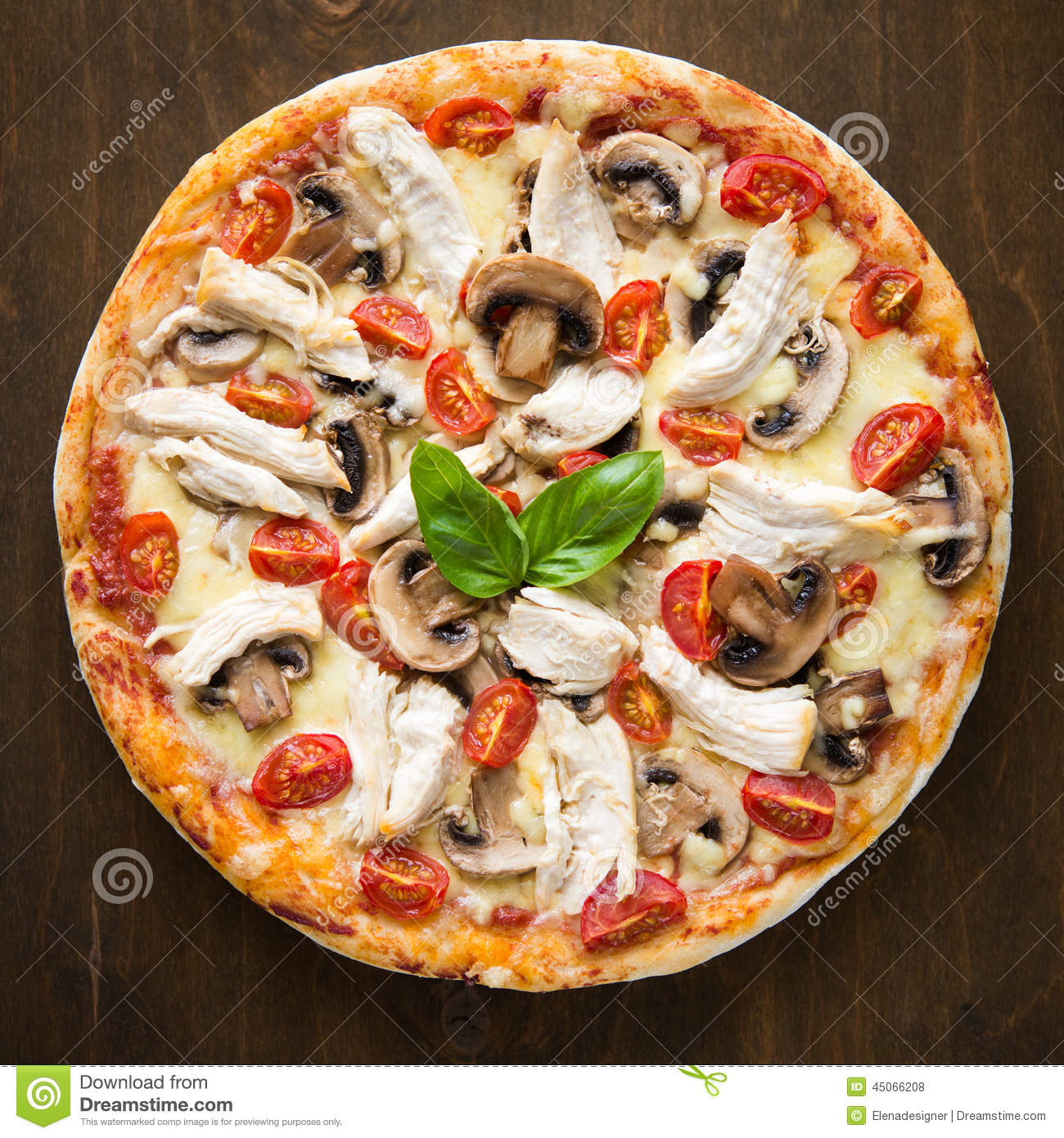 Pizza With Chicken Tomato And Mushrooms Top View Stock