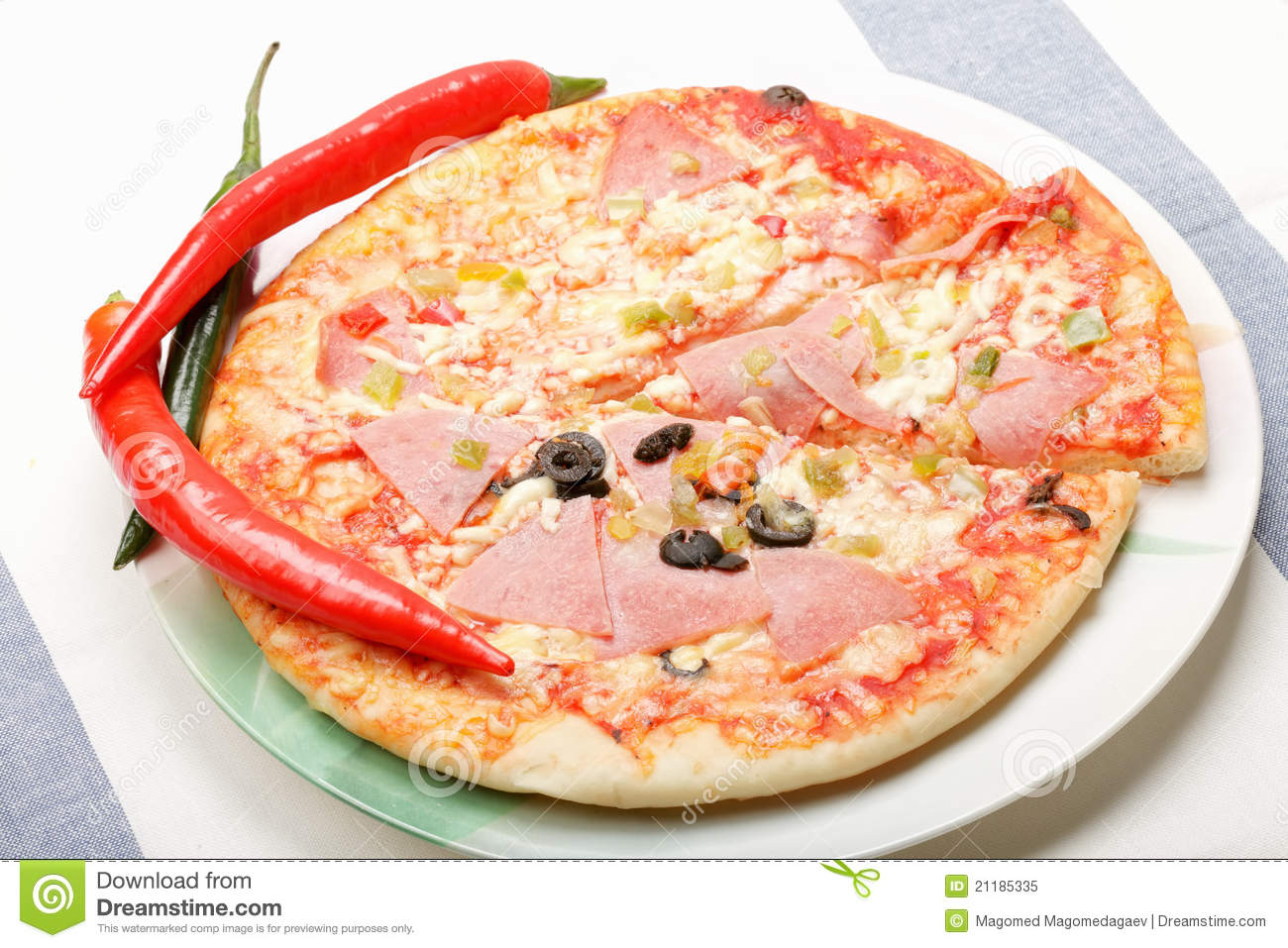 Pizza and chili on plate