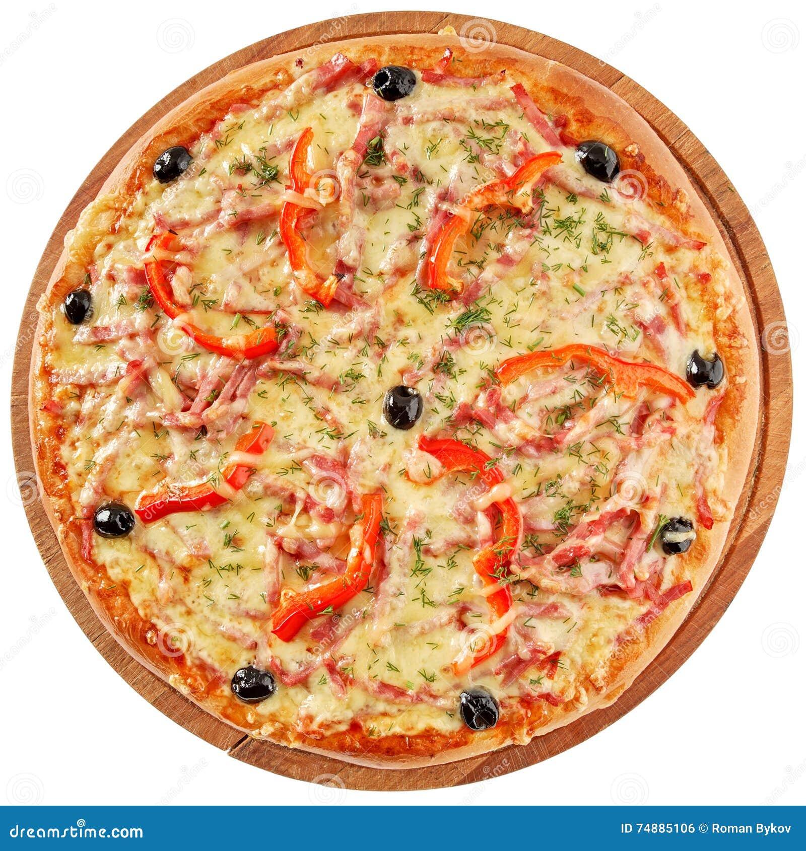 Pizza clássica com tomates, pimenta vermelha e ervas