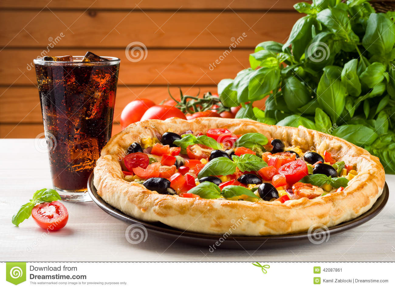 Pizza And Coke Stock Photo - Image: 42087861