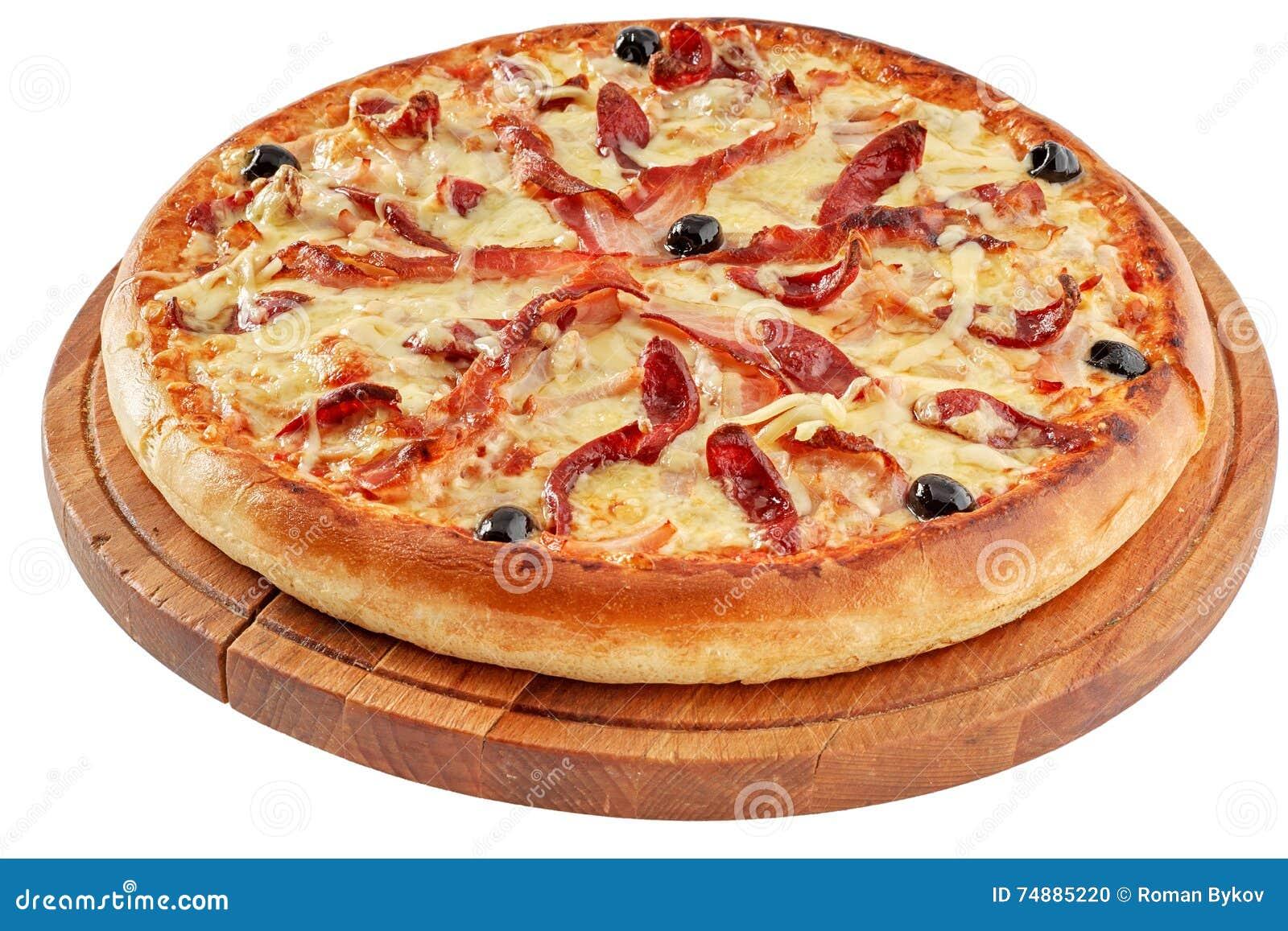 Pizza com bacon e carne fumado