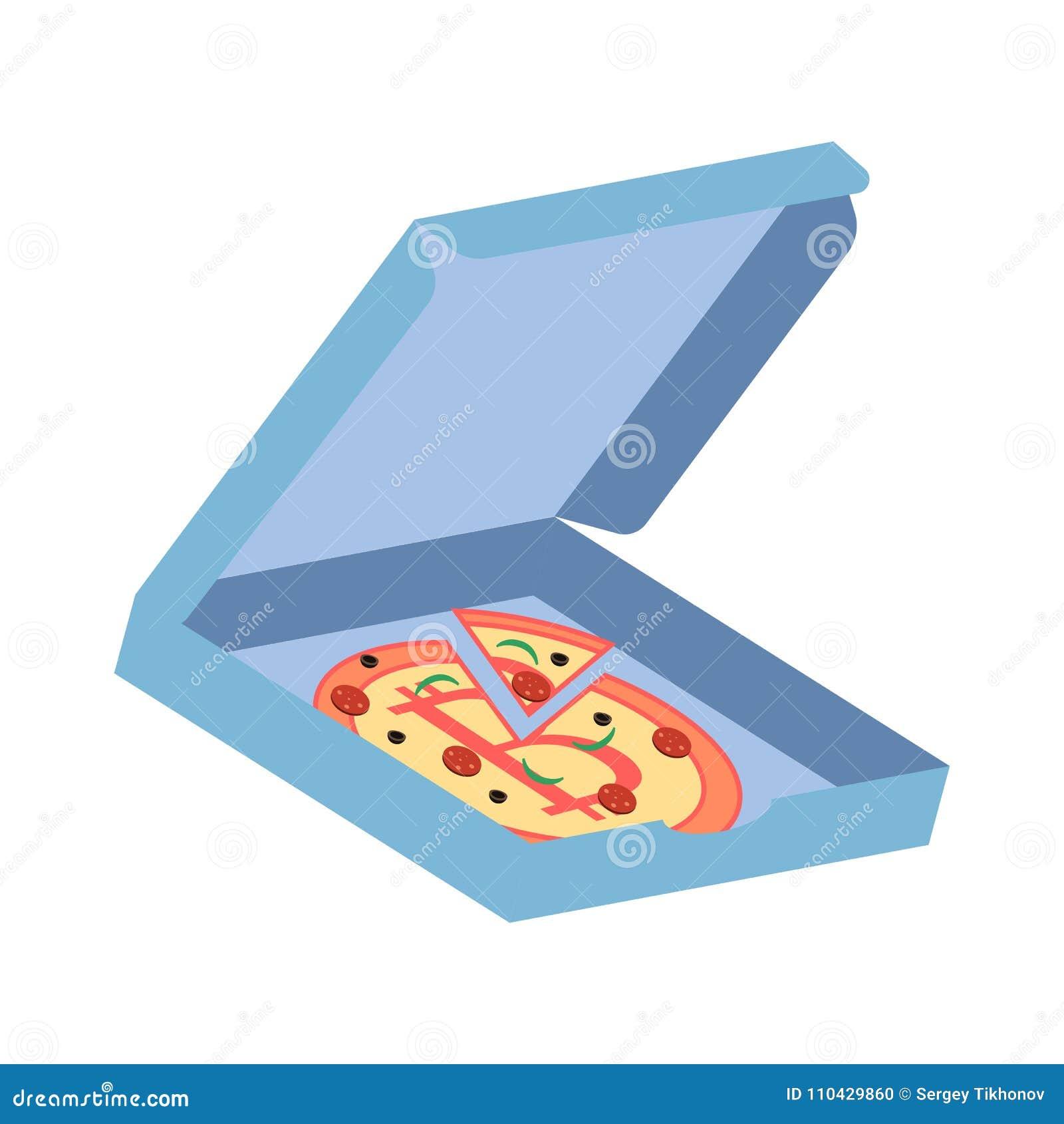 Pizza con el símbolo de Bitcoin en la caja azul Ejemplo del vector en el fondo blanco