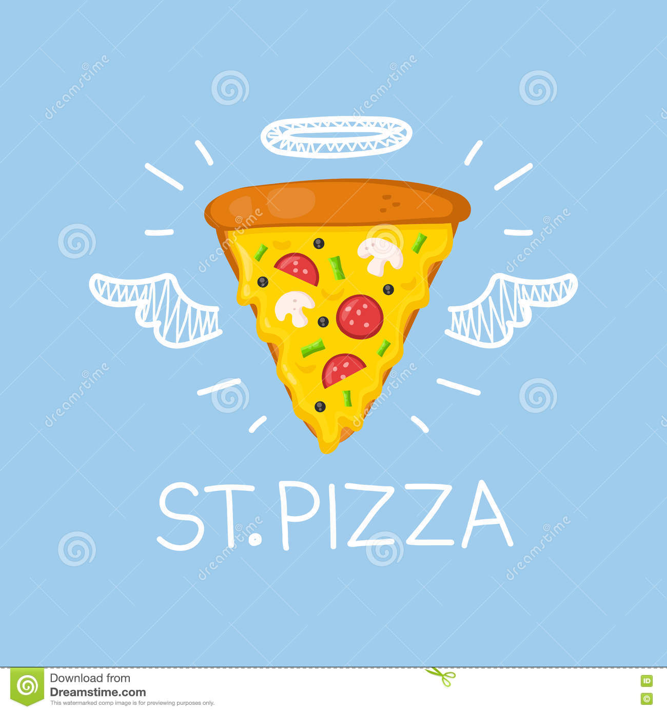 Pizza concept  St. Pizza  with angel halo and wings. Flat and doodle vector illustration