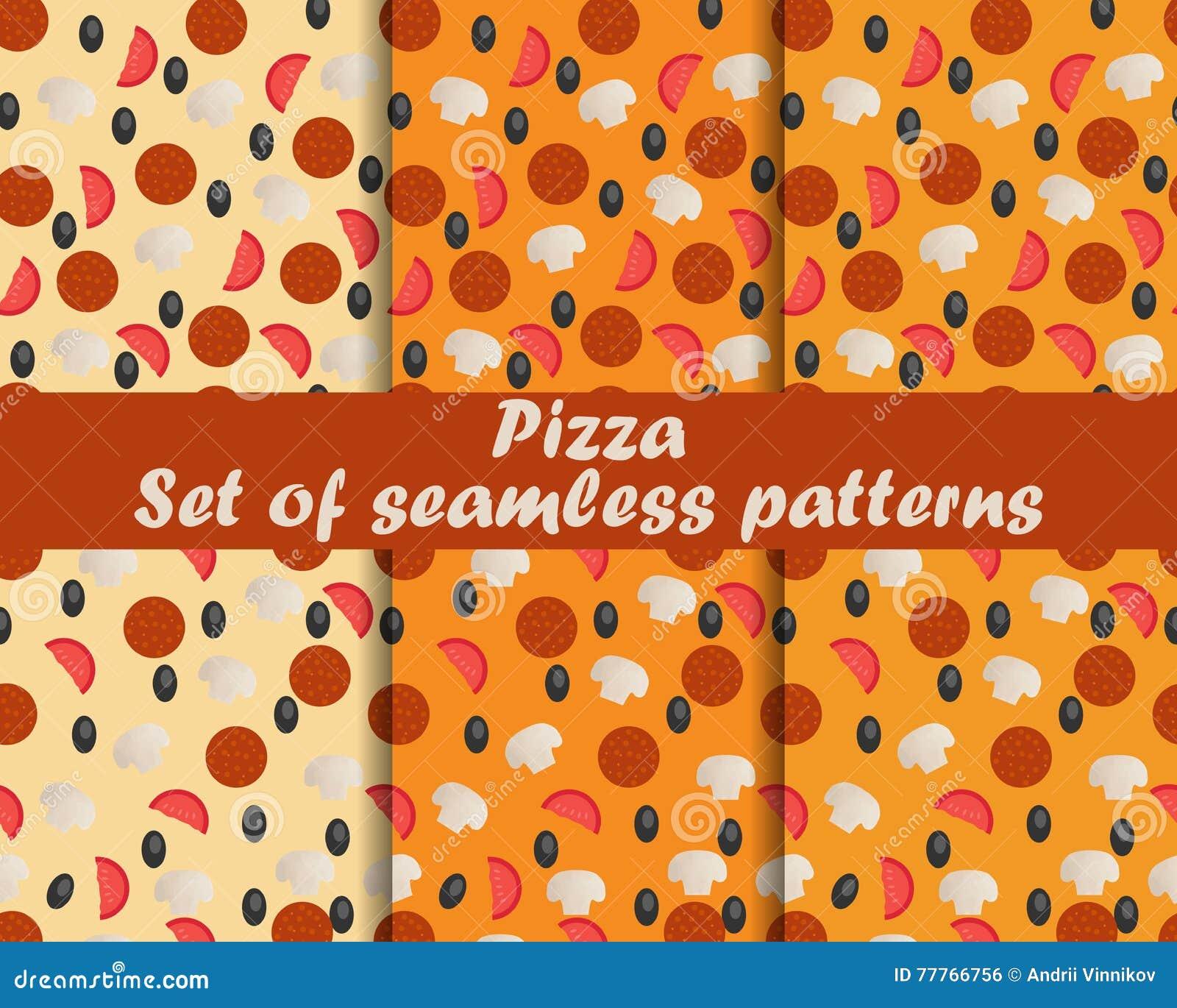 Pizza Conjunto de modelos inconsútiles Ingredientes para la pizza El modelo para el papel pintado, ropa de cama, tejas, telas, fo