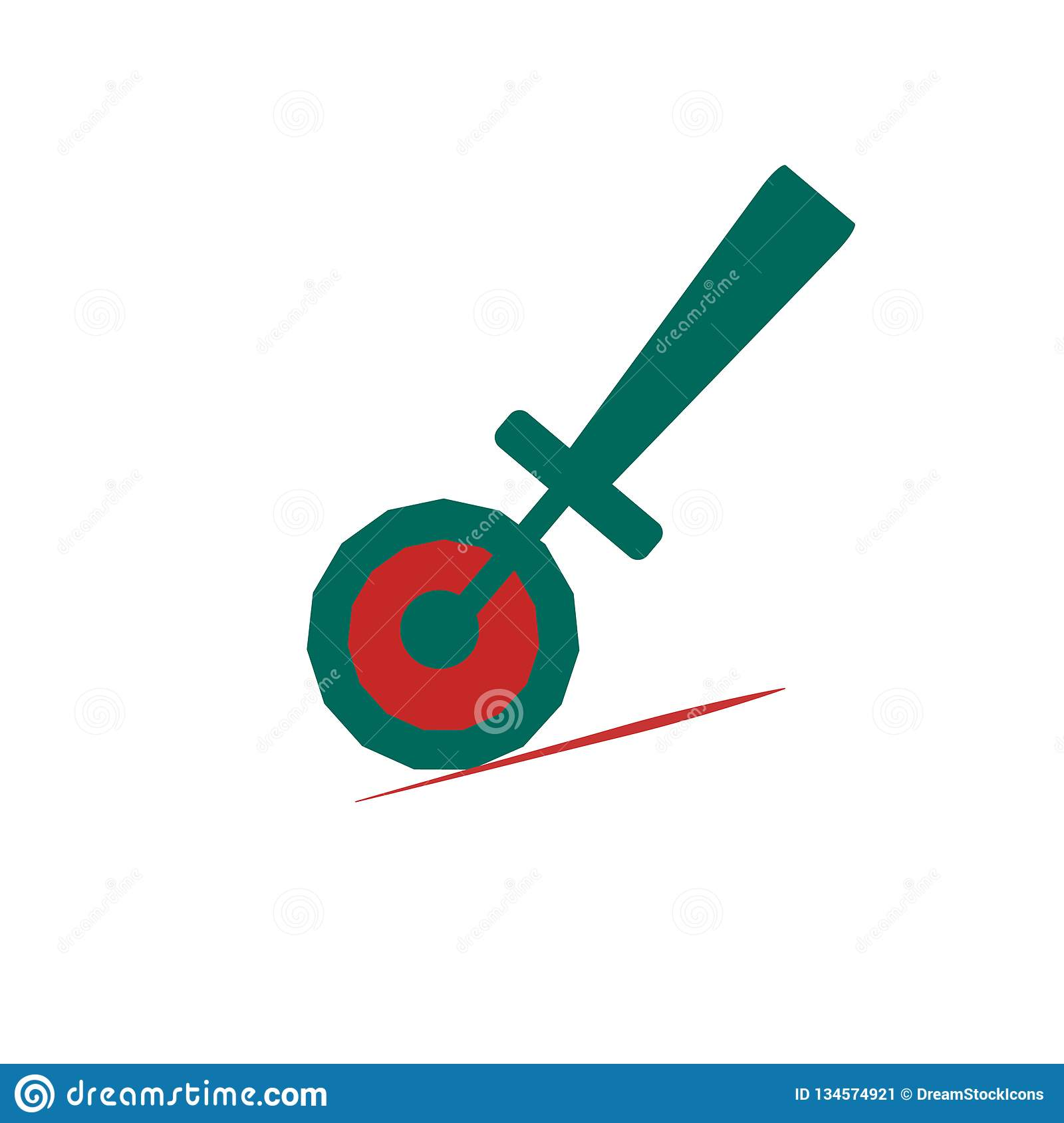 Pizza cutter icon vector sign and symbol isolated on white background, Pizza cutter logo concept