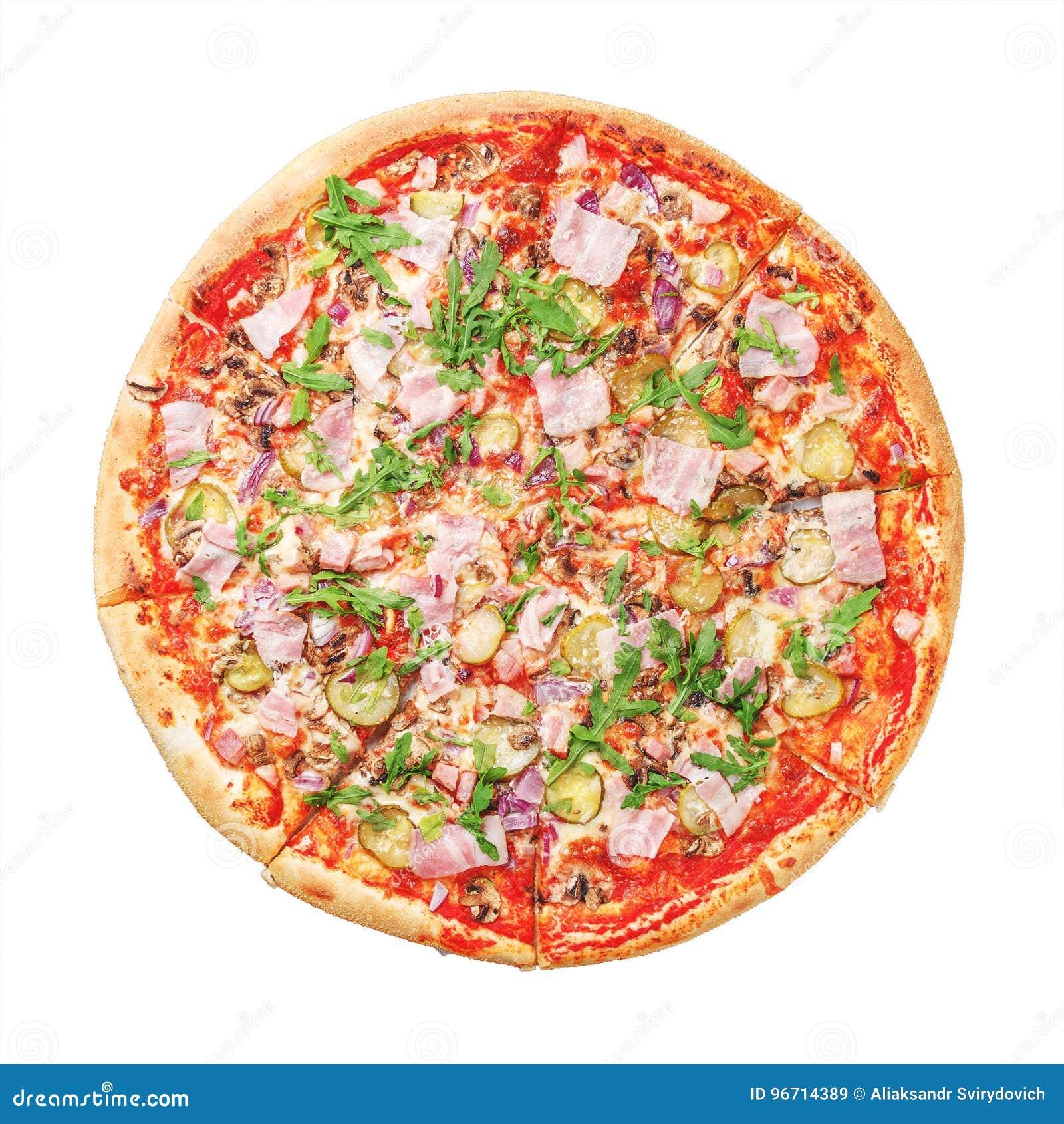 Pizza délicieuse avec du jambon et l arugula sur le blanc Vue supérieure