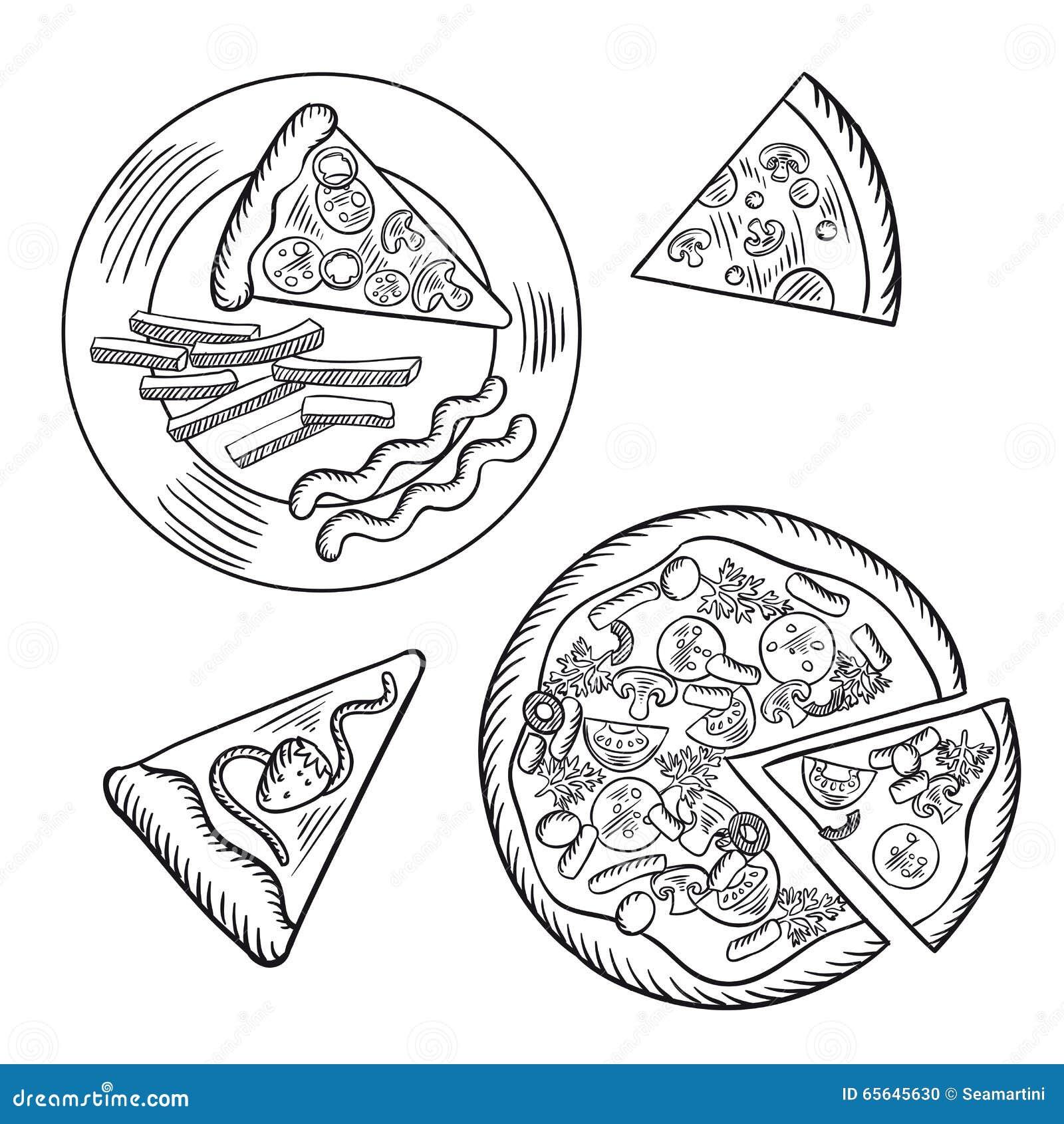 Pizza d aliments de préparation rapide, pommes frites et tarte de baie