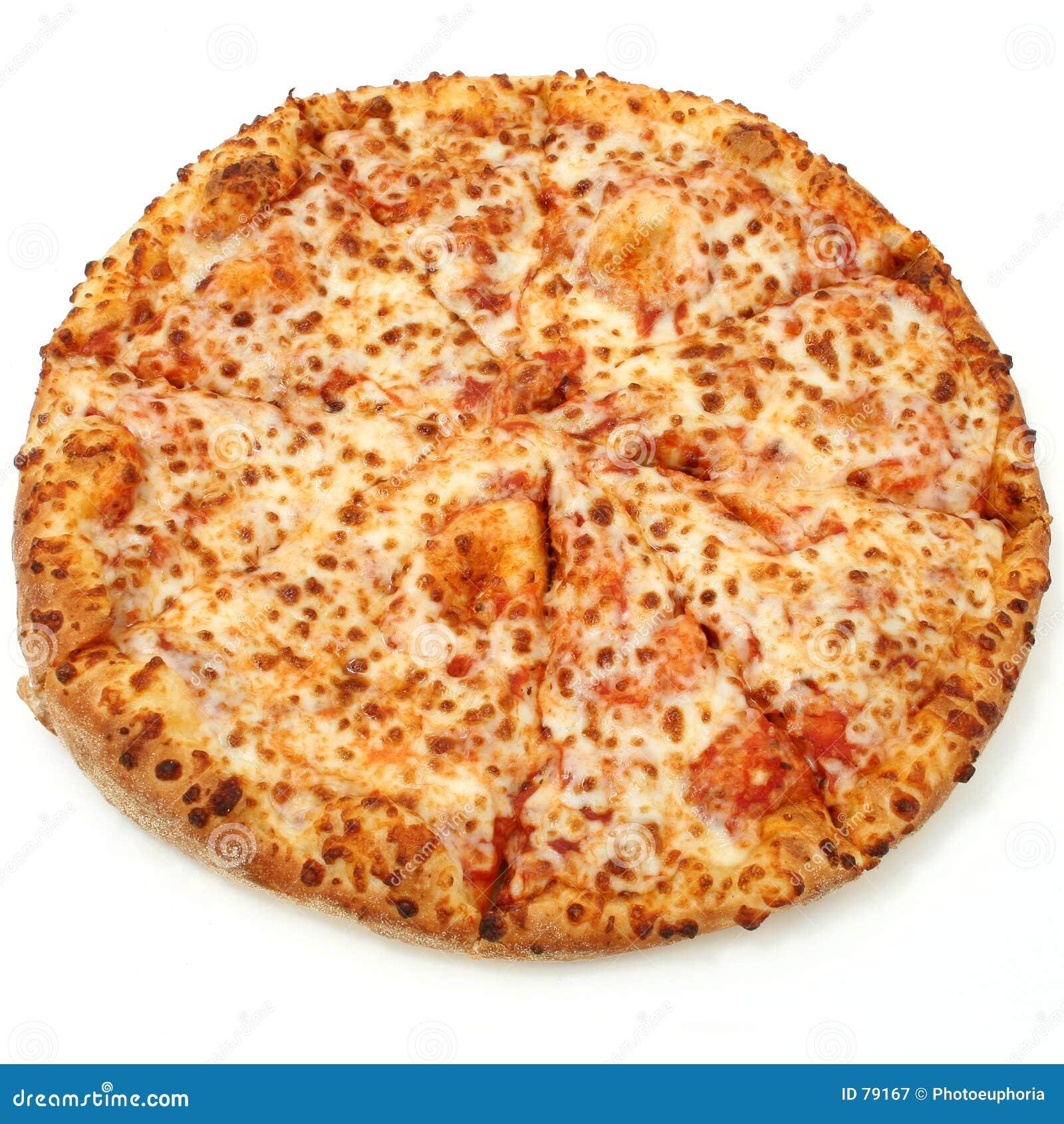 Pizza de queijo no fundo branco