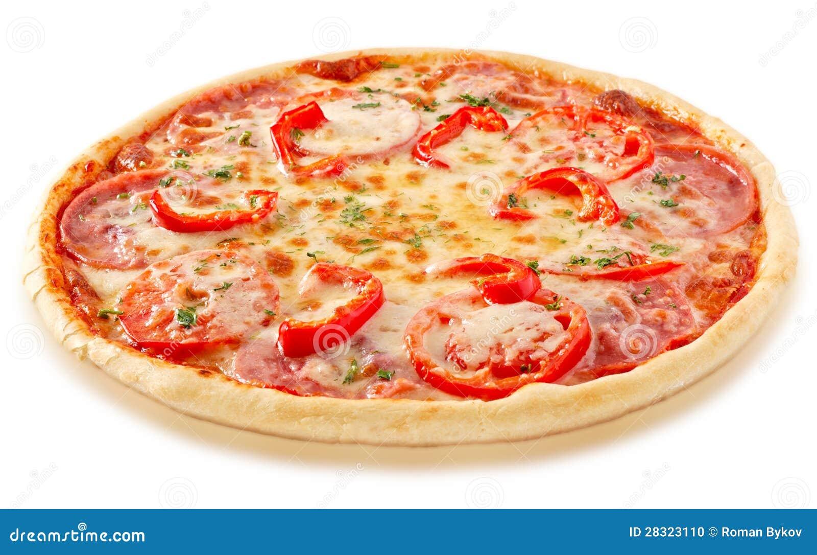 Pizza de salami avec les tomates et le poivron rouge