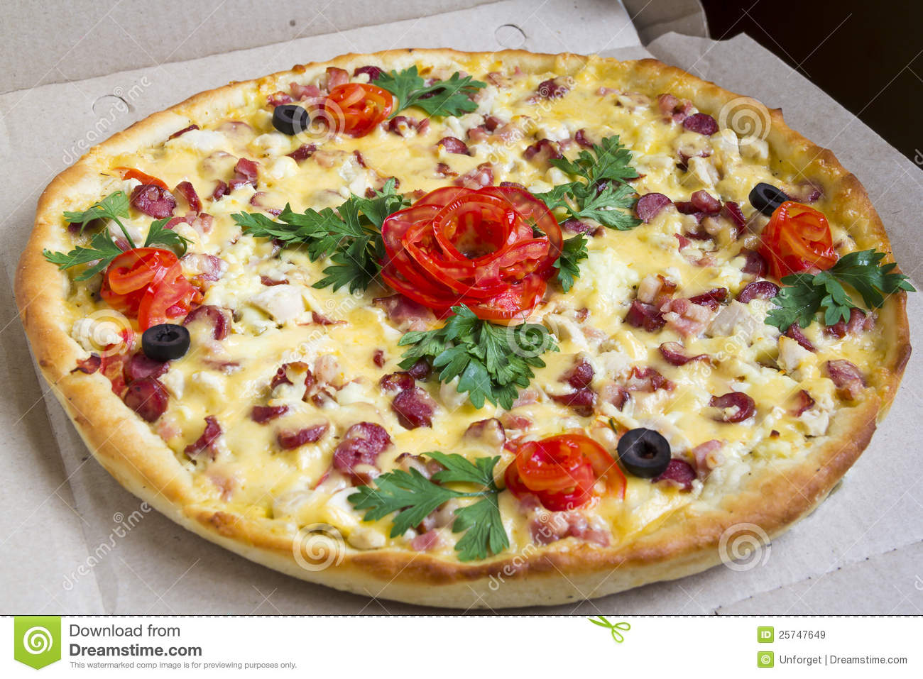 Pizza With A Decoration Royalty Free Stock Images Image 25747649