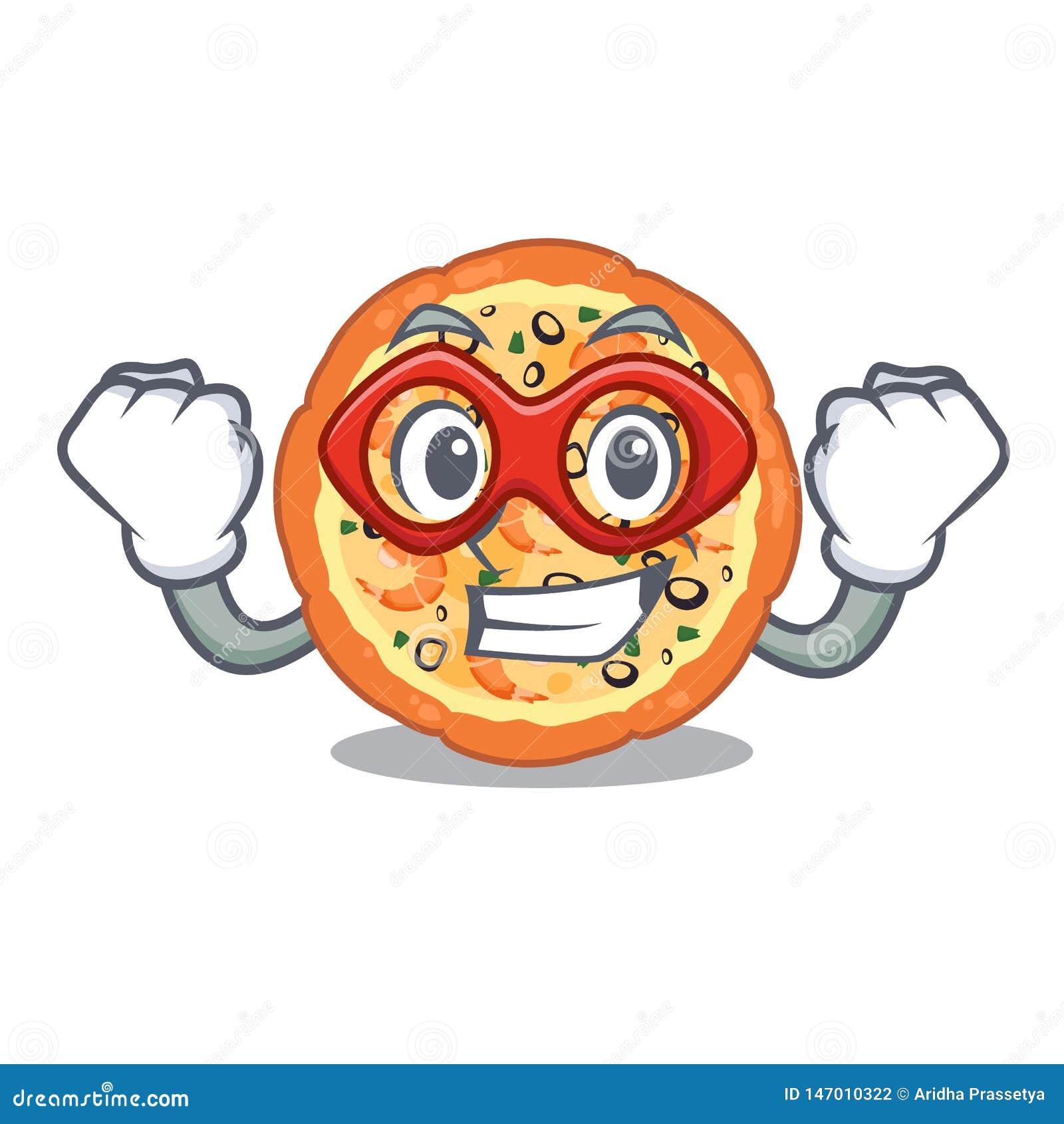Pizza dei frutti di mare dell eroe eccellente isolata con nel fumetto