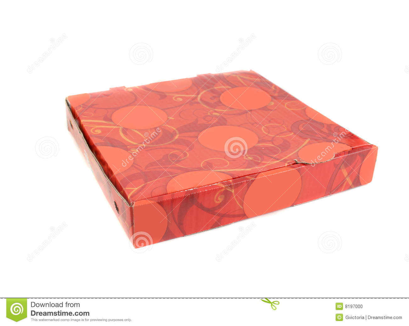Takeout cardboard pizza delivery box on white background.