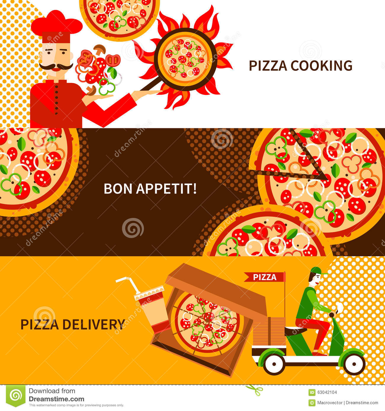 270c71c939d8 Online and phone orders italian pizza delivery service 3 flat horizontal  banners poster abstract isolated vector illustration